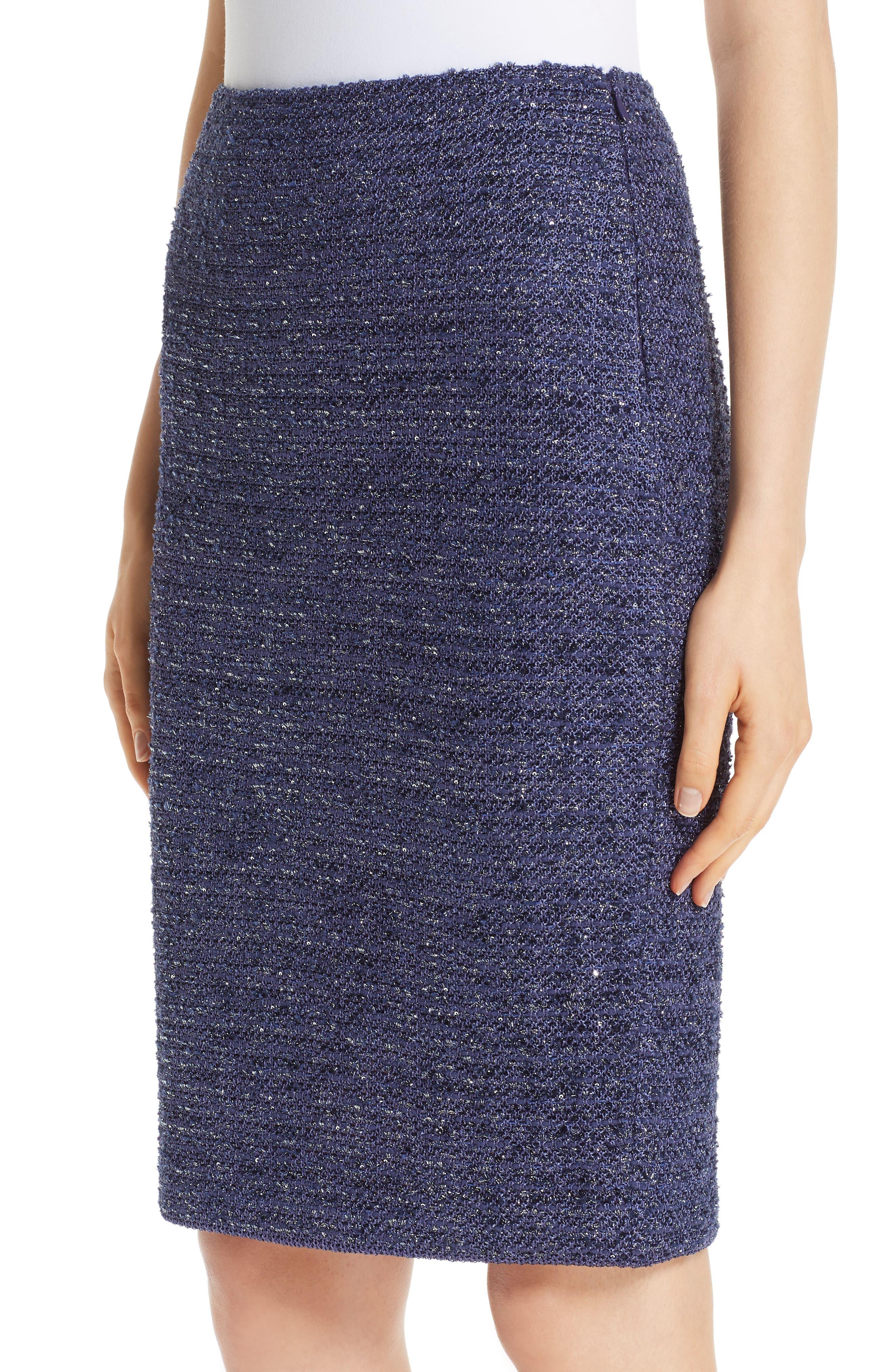 Starlight Knit Pencil Skirt,                             Alternate thumbnail 4, color,                             VIOLA MULTI