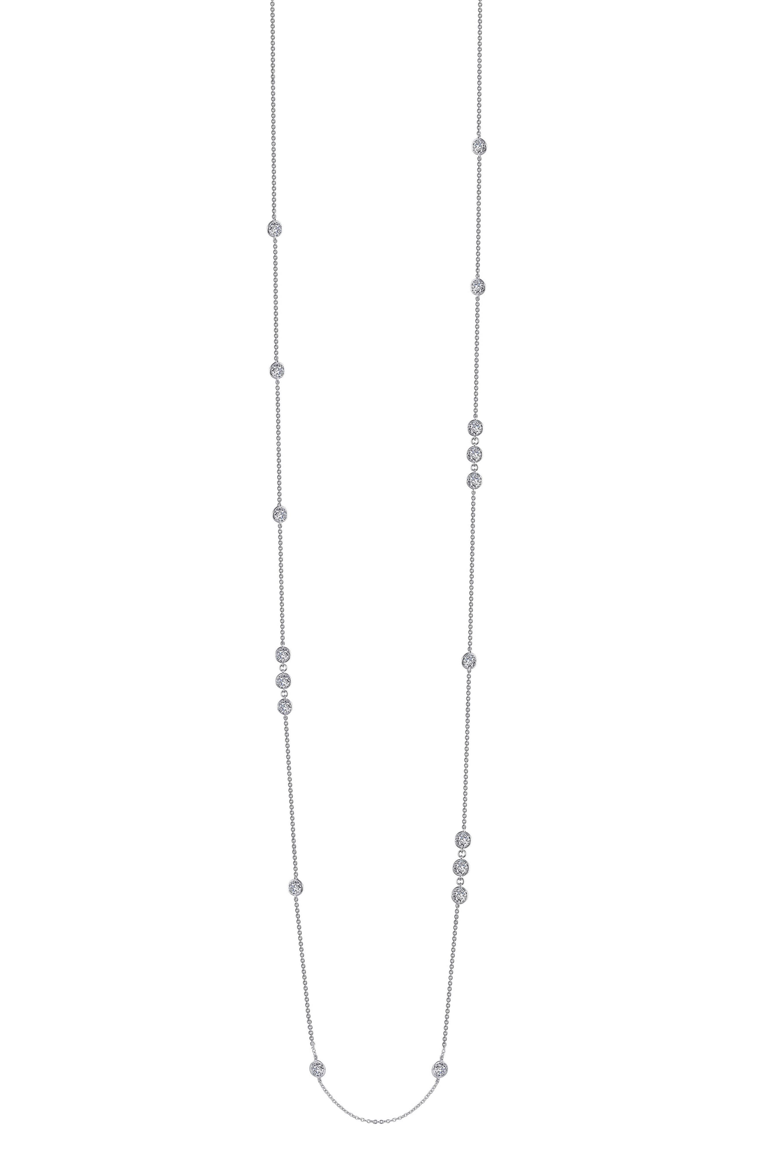 Long Simulated Diamond Station Necklace,                             Alternate thumbnail 3, color,                             SILVER