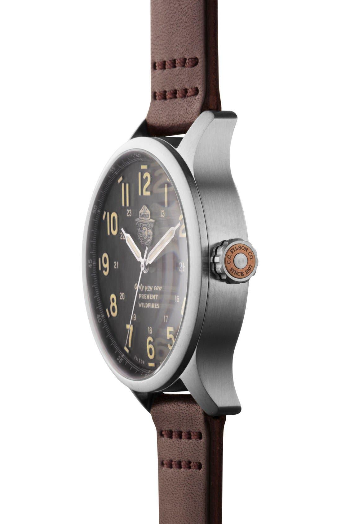 SHINOLA,                             x Filson The Smokey Bear Leather Strap Watch Gift Set, 43mm,                             Alternate thumbnail 6, color,                             200