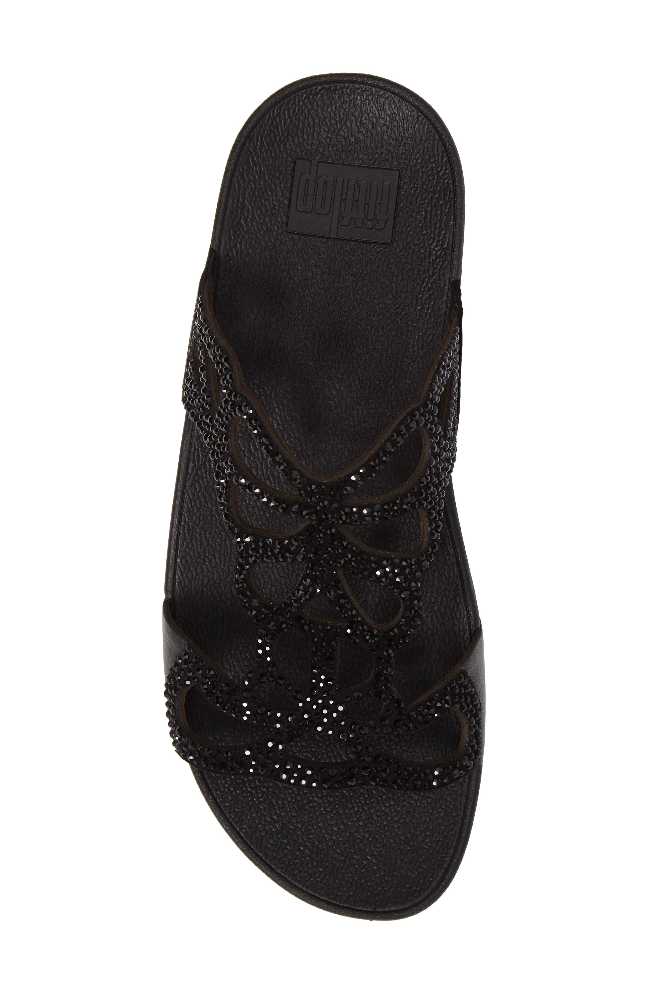 Bumble Wedge Slide Sandal,                             Alternate thumbnail 5, color,                             BLACK LEATHER