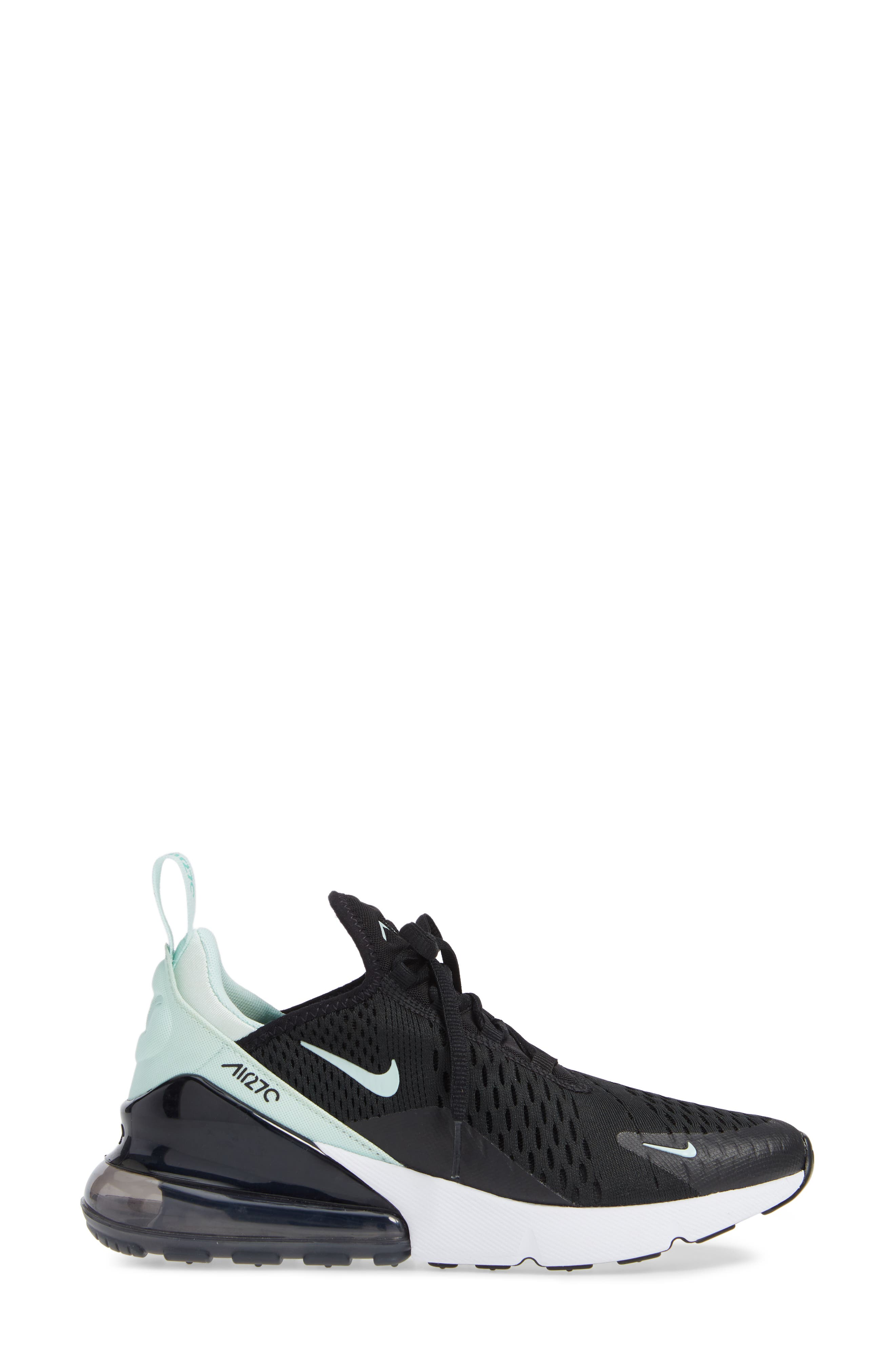 Air Max 270 Premium Sneaker,                             Alternate thumbnail 3, color,                             BLACK/ IGLOO TURQUOISE WHITE