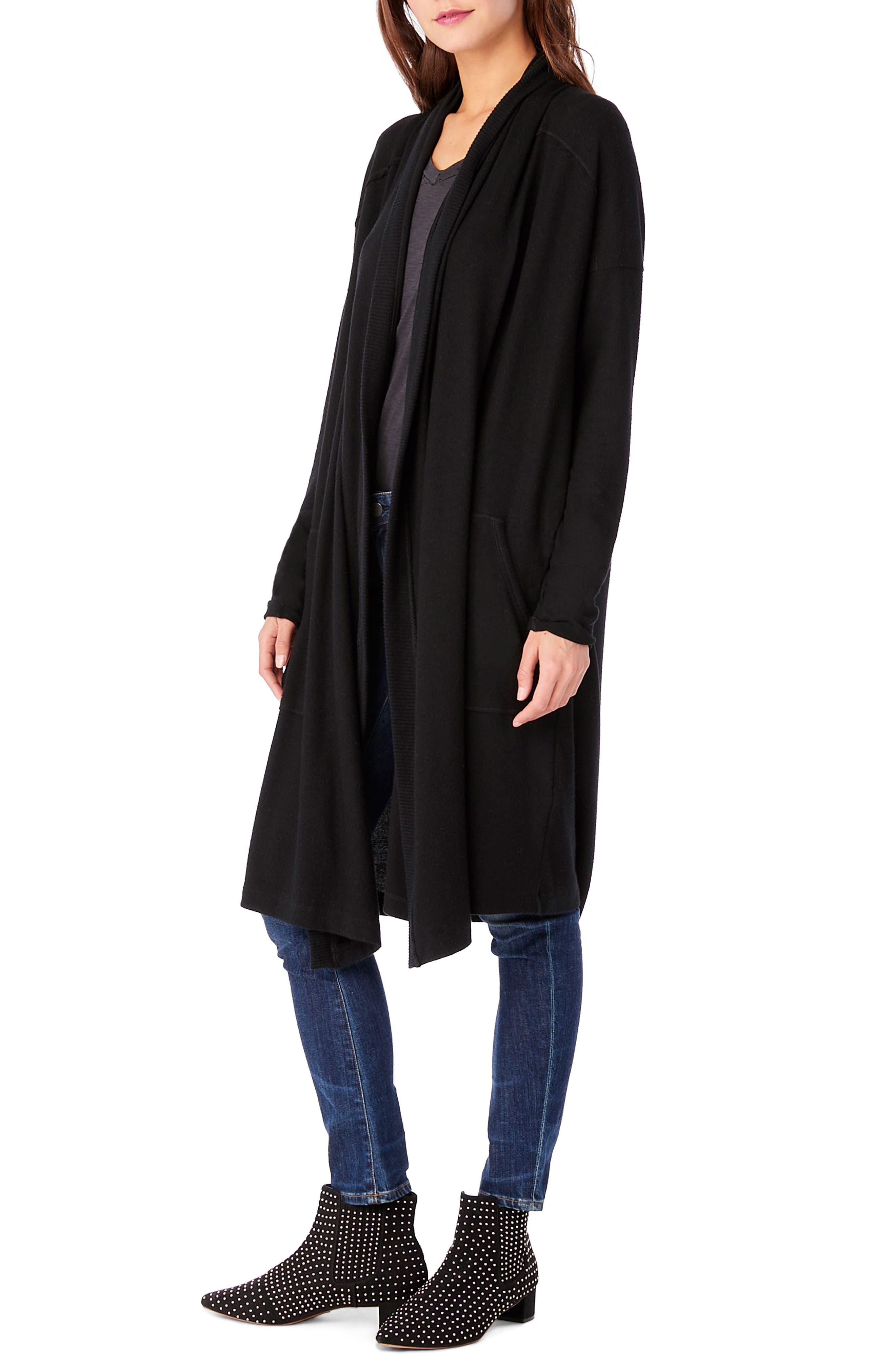 Long Sleeve Shawl Collar Cardigan,                             Alternate thumbnail 3, color,                             001