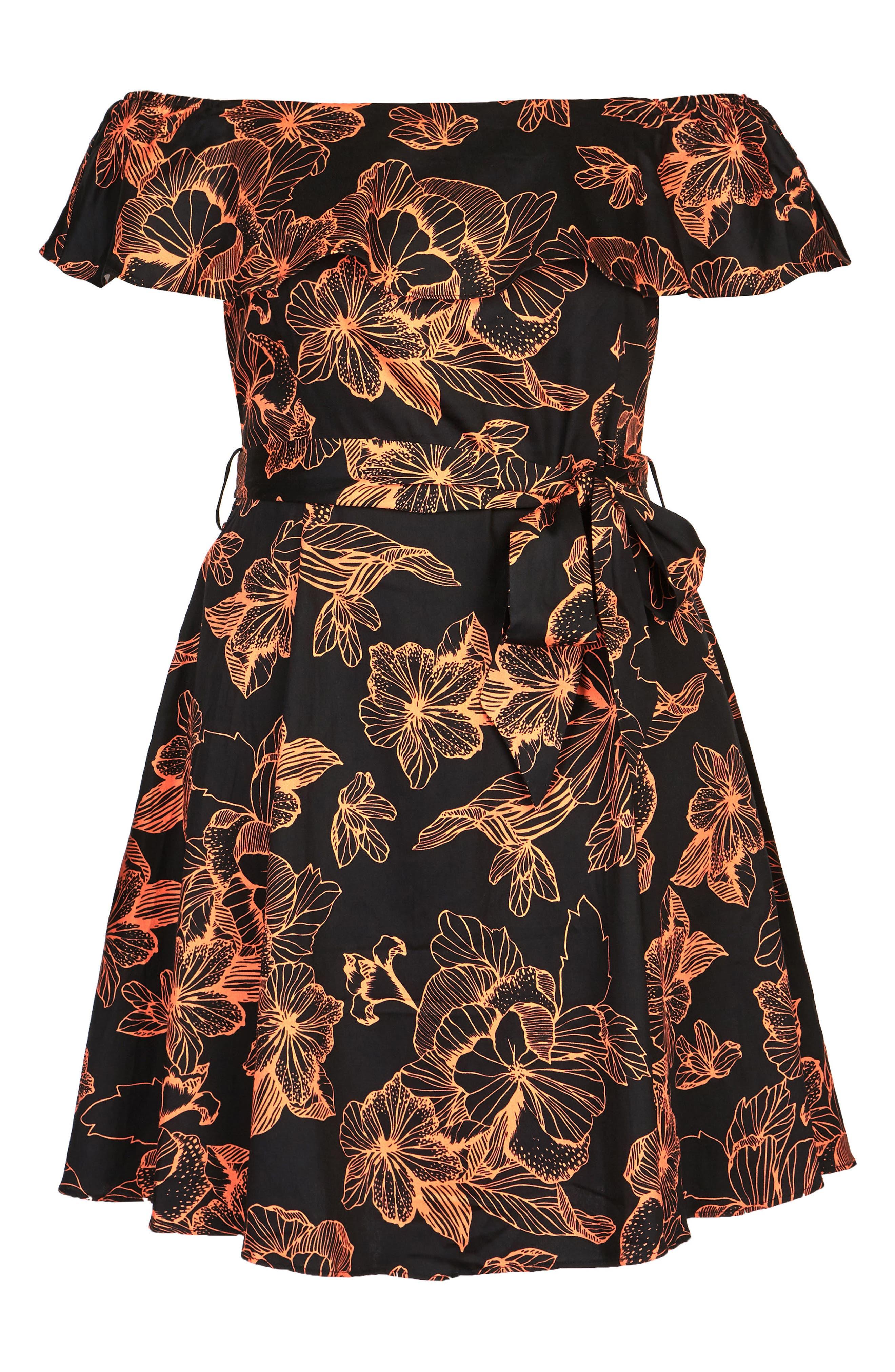 Floral Off the Shoulder Fit & Flare Dress,                             Alternate thumbnail 3, color,                             101