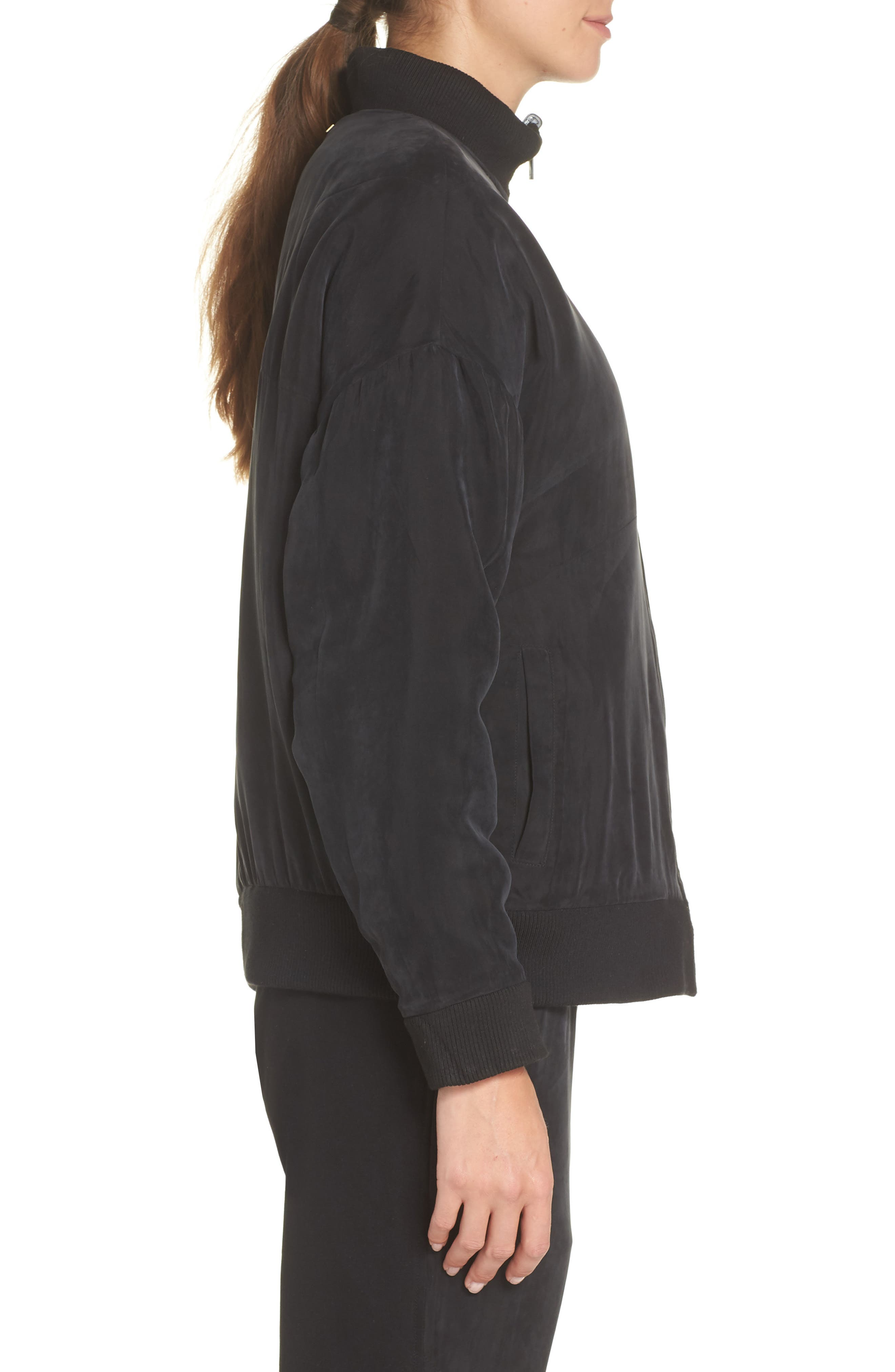 Arcs Reversible Bomber Jacket,                             Alternate thumbnail 4, color,                             BLACK