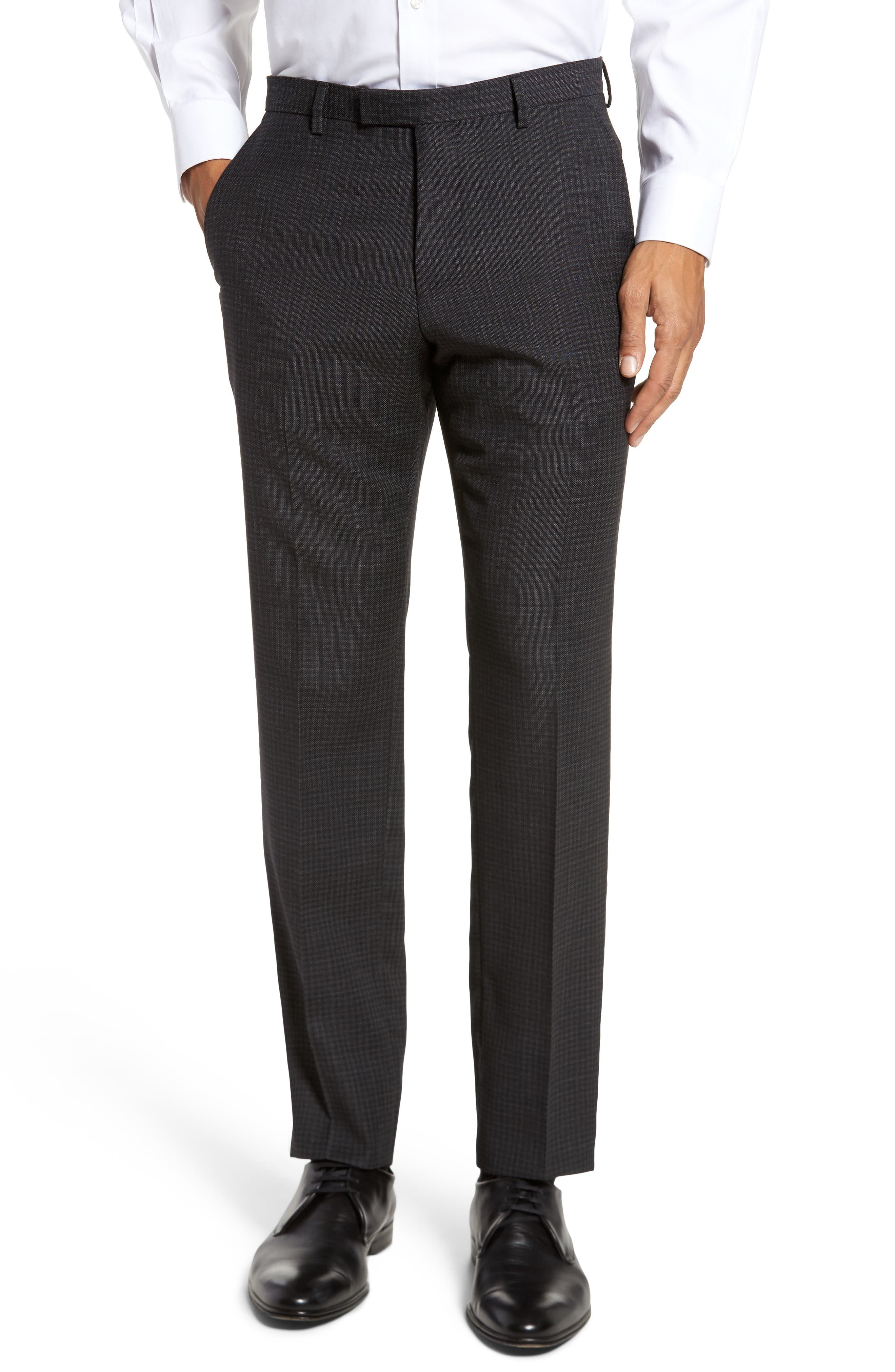 Leenon Flat Front Regular Fit Check Wool Trousers,                         Main,                         color, 001