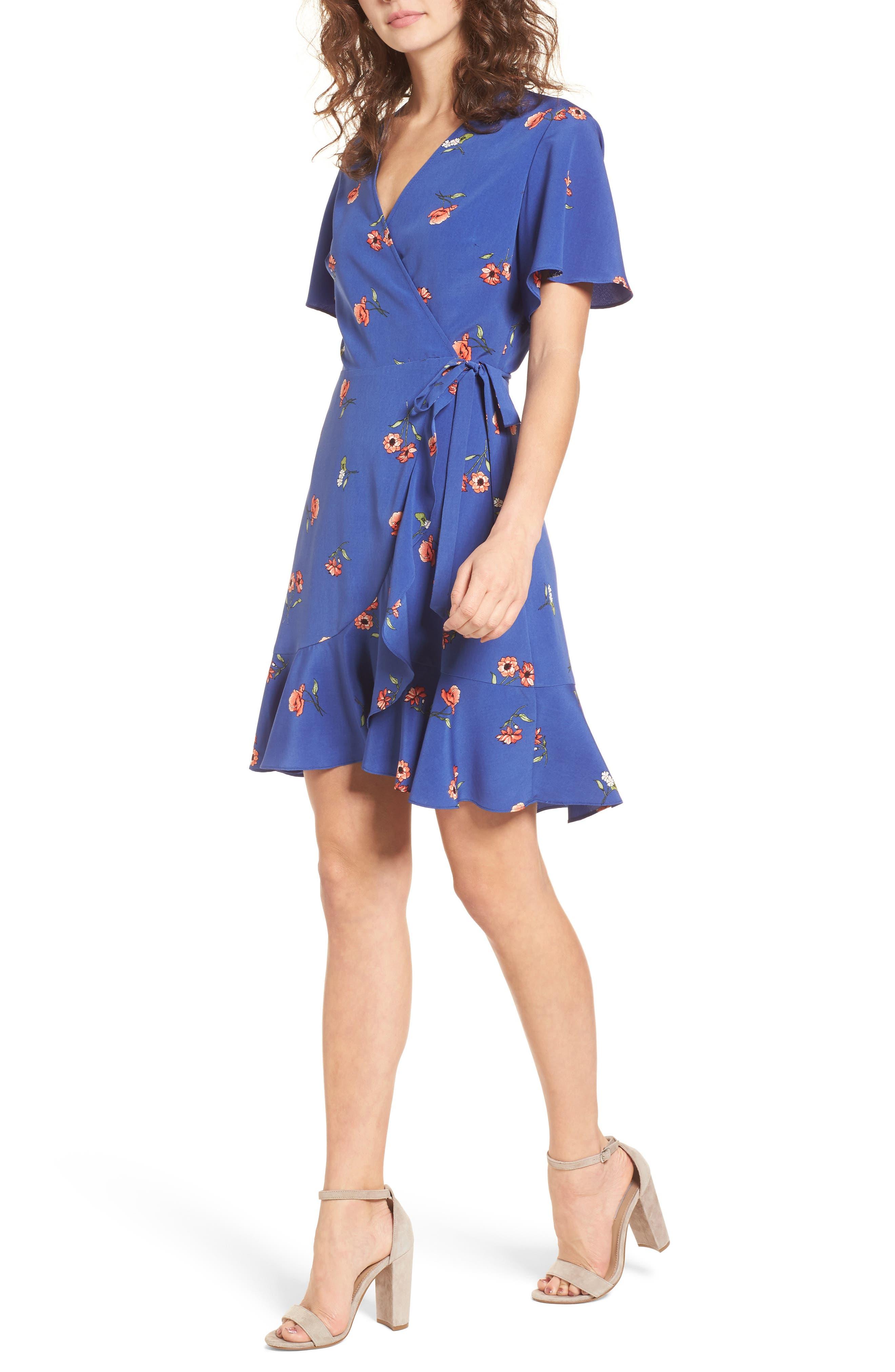 Lucy Floral Wrap Dress,                             Main thumbnail 3, color,