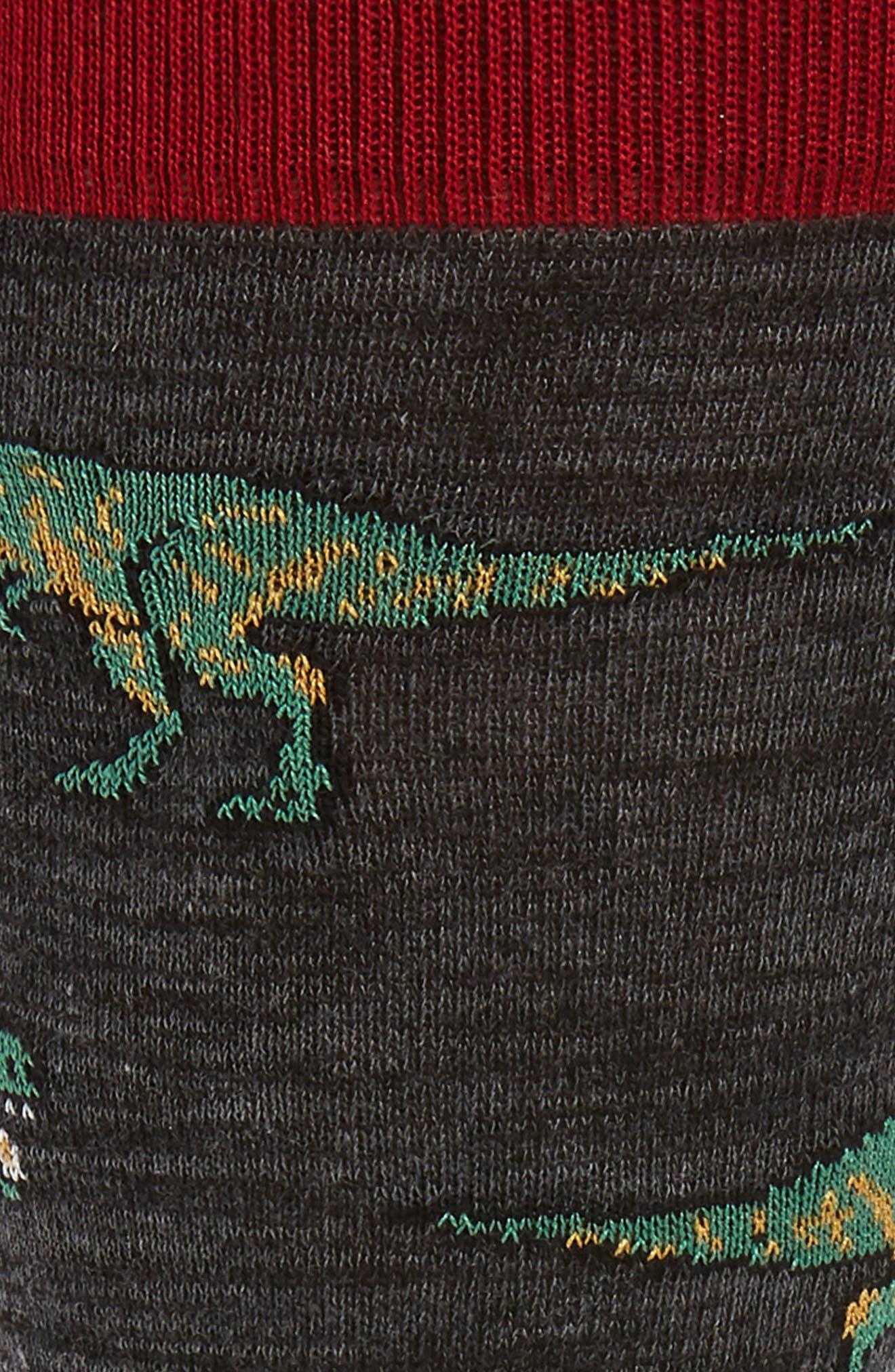 Dinosaur Socks,                             Alternate thumbnail 2, color,                             CHARCOAL