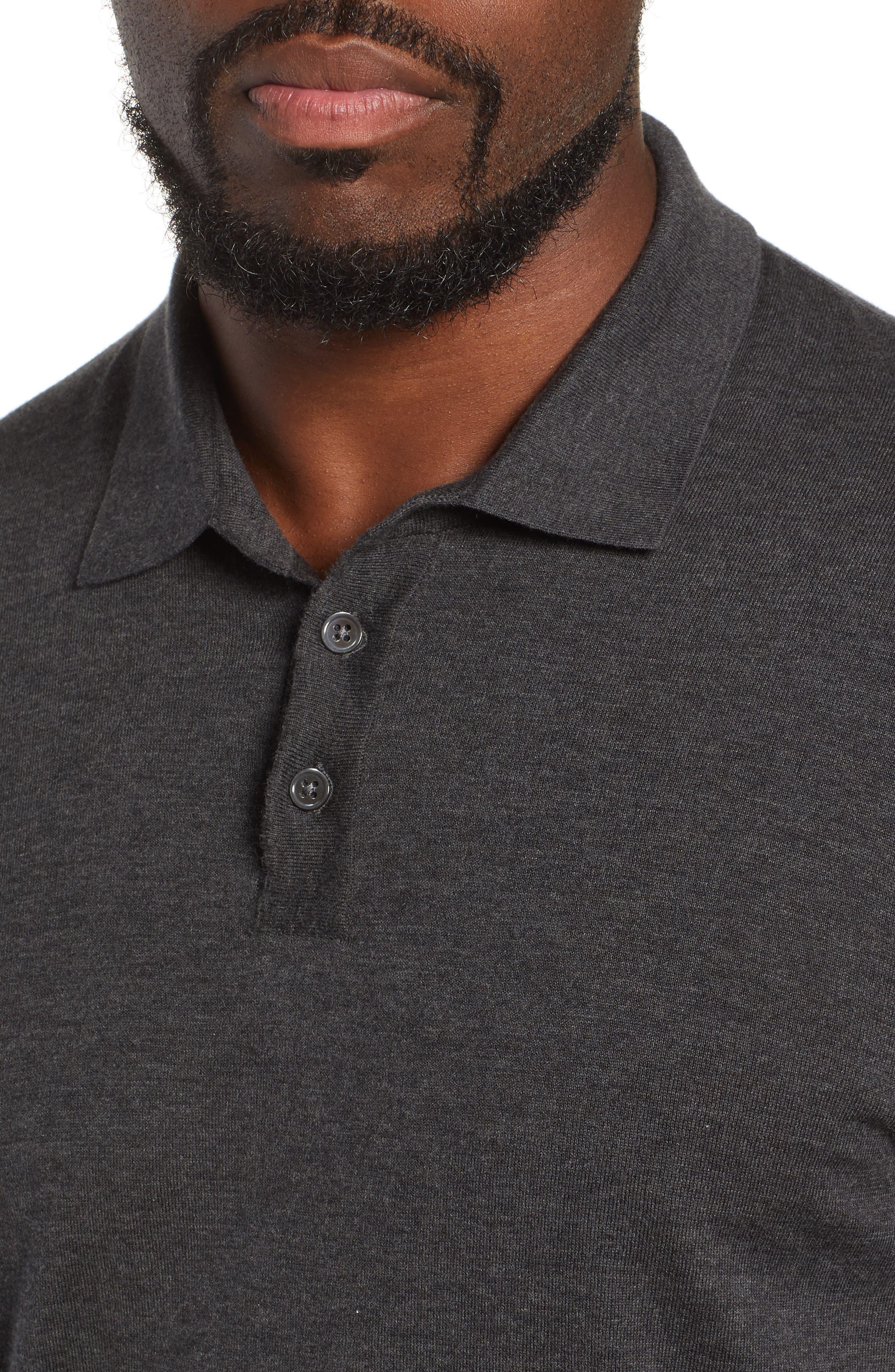 Fine Gauge Regular Fit Cotton Polo,                             Alternate thumbnail 4, color,                             HEATHER CHARCOAL