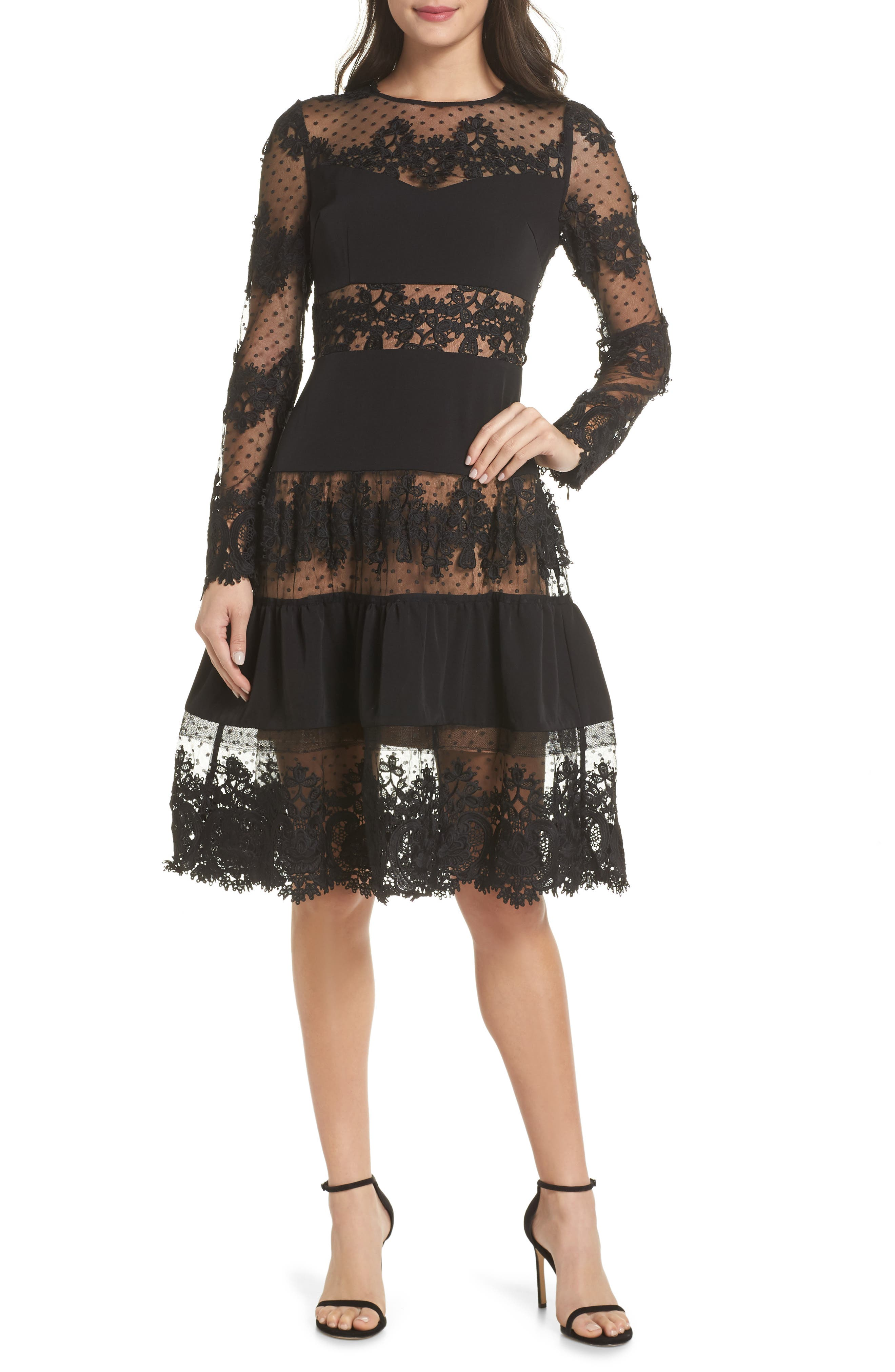 BRONX AND BANCO Flamenco Lace Fit & Flare Dress in Black
