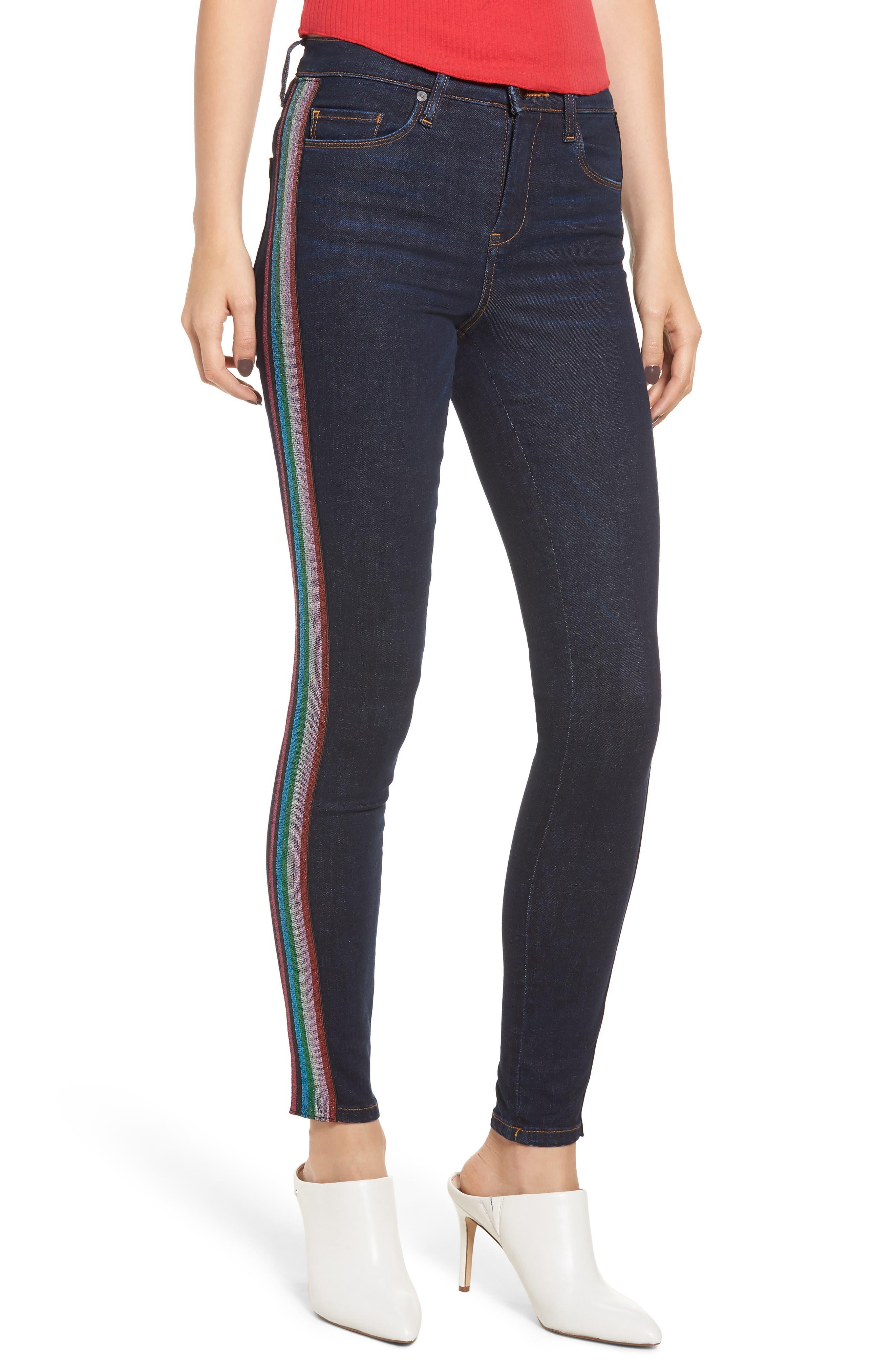 The Bond Metallic Side Stripe Skinny Jeans,                             Main thumbnail 1, color,                             400