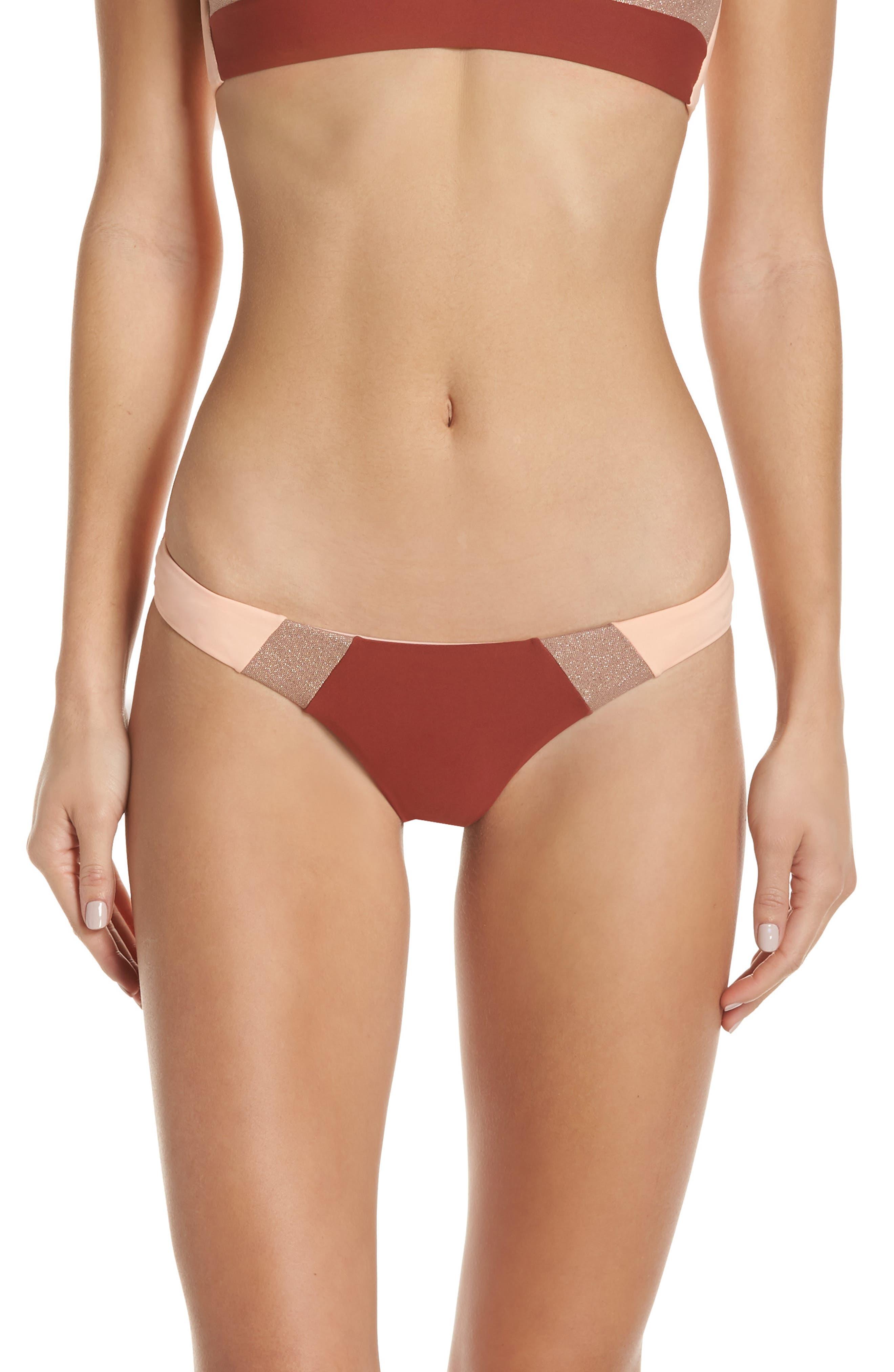 Pilyq Colorblock Bikini Bottoms, Coral