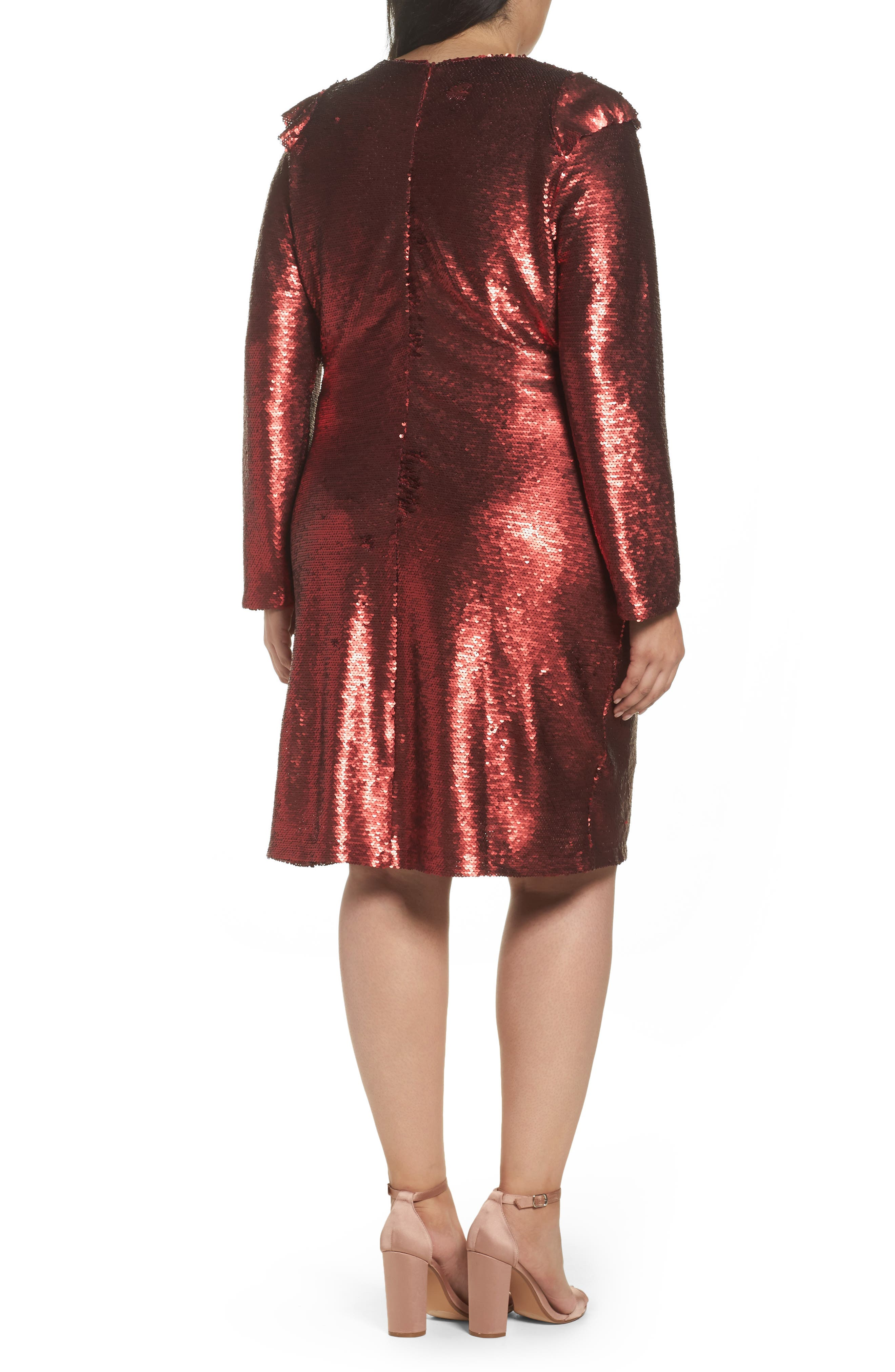 Sequin Ruffle Dress,                             Alternate thumbnail 2, color,                             600