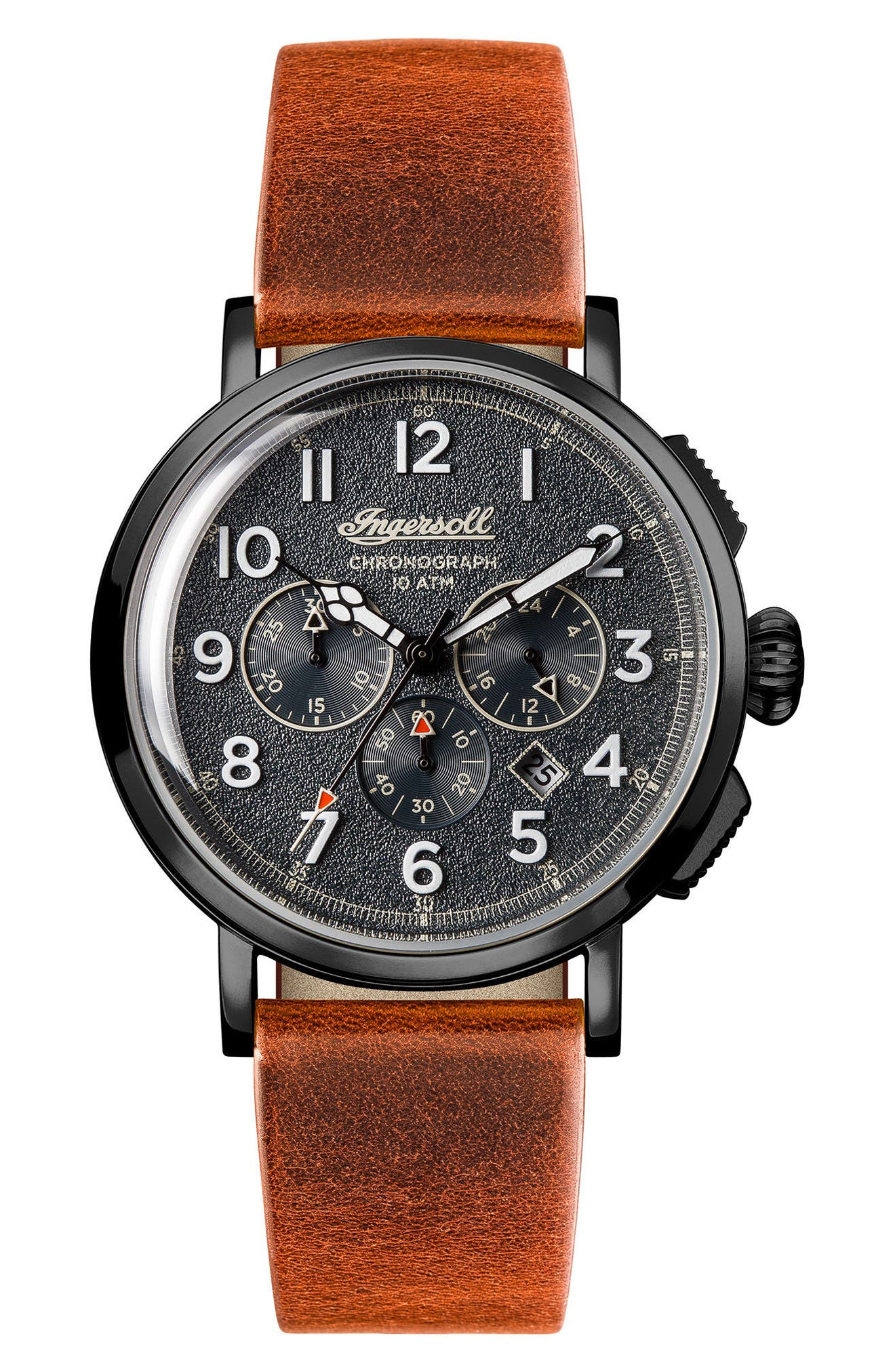 Ingersoll St. John Chronograph Leather Strap Watch, 44mm,                         Main,                         color, TAN/ GREY/ GUNMETAL