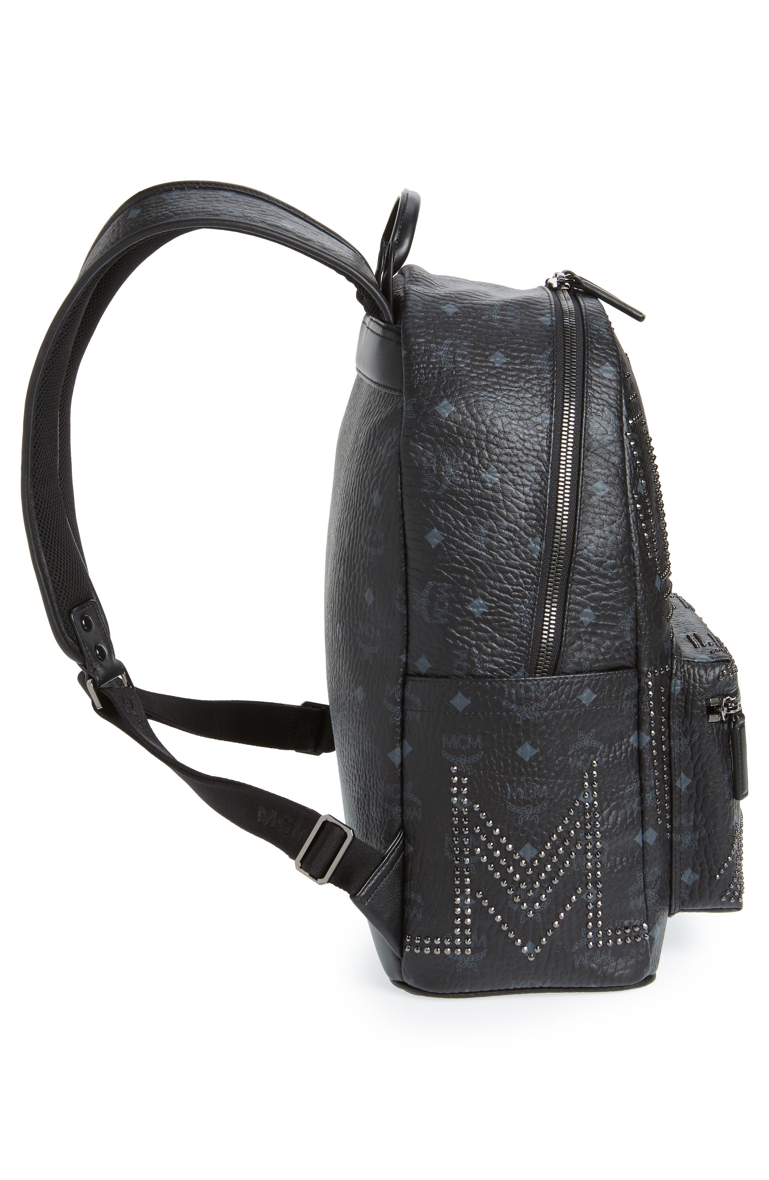 Stark Stud Faux Leather Backpack,                             Alternate thumbnail 5, color,                             BLACK