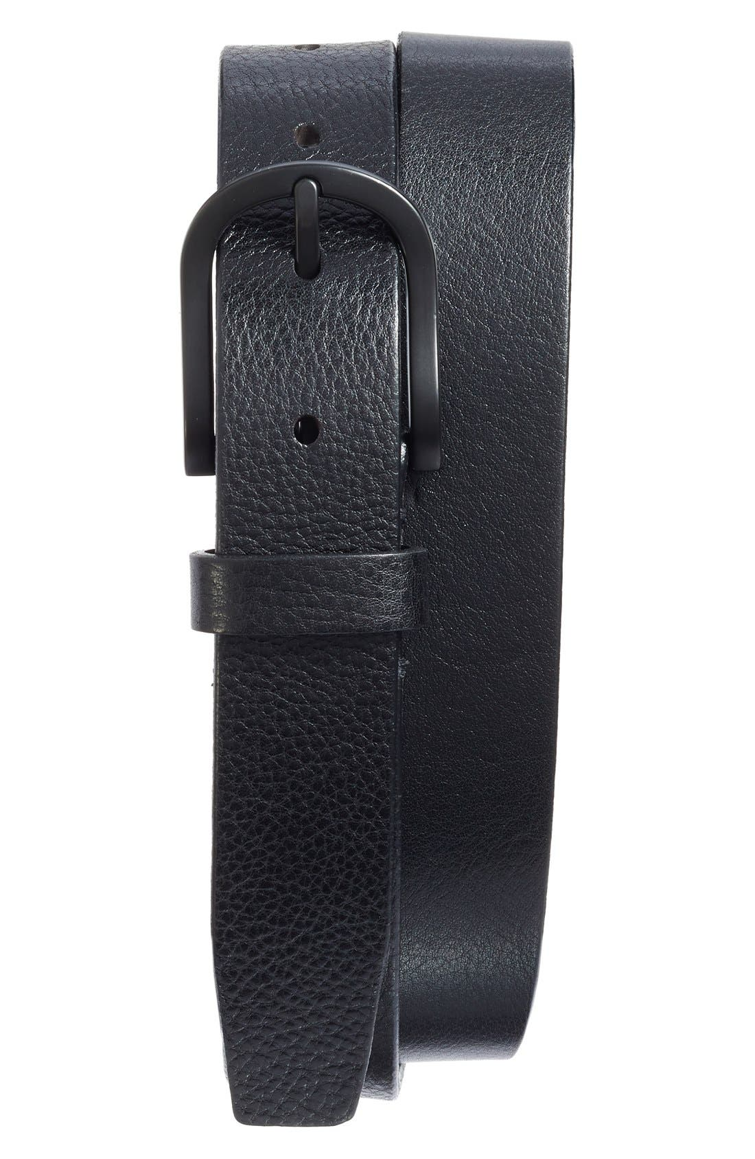 Heavyweight Leather Belt,                             Alternate thumbnail 2, color,                             BLACK