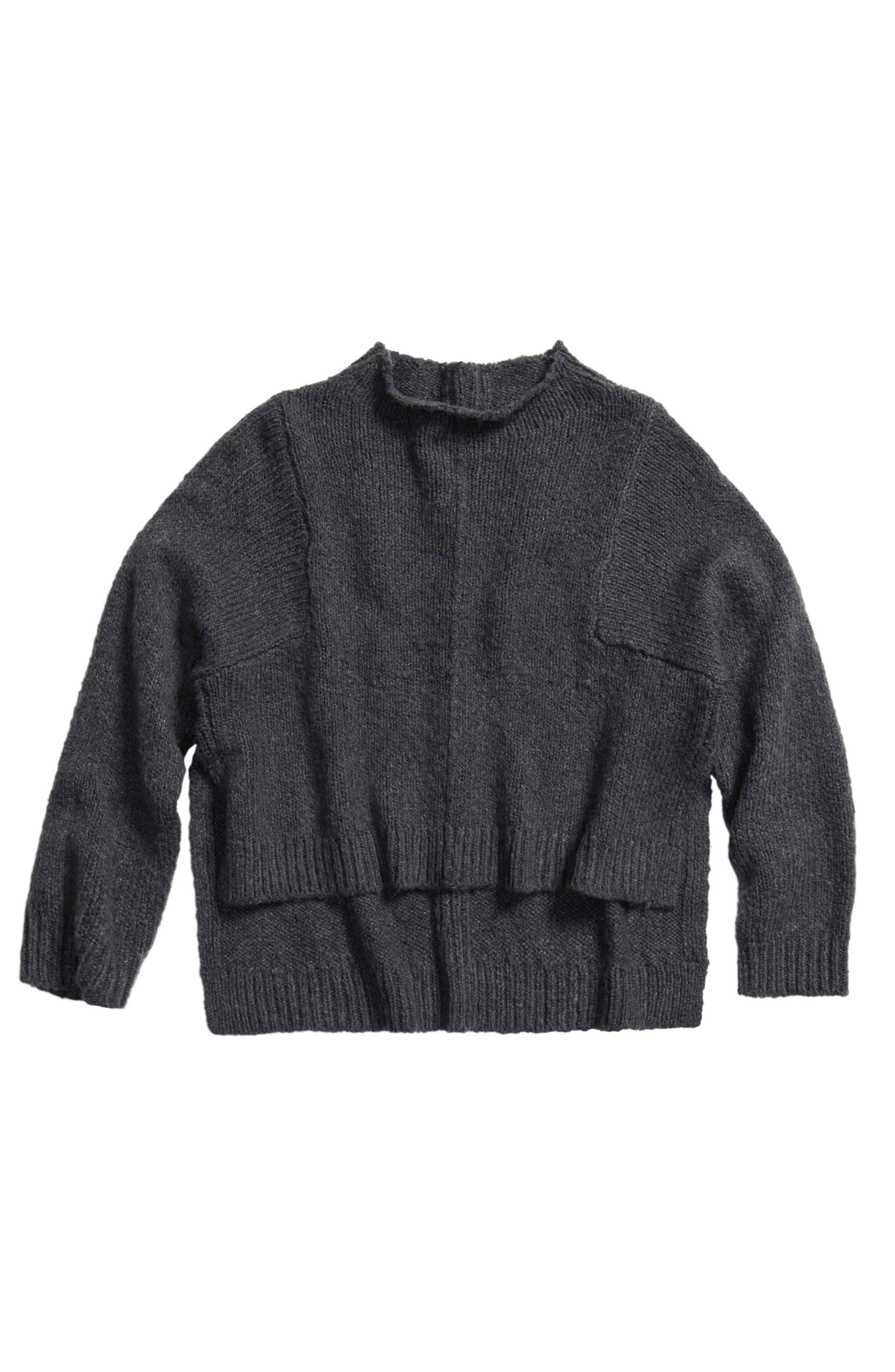 Funnel Neck Sweater,                             Main thumbnail 1, color,                             GREY COBBLE