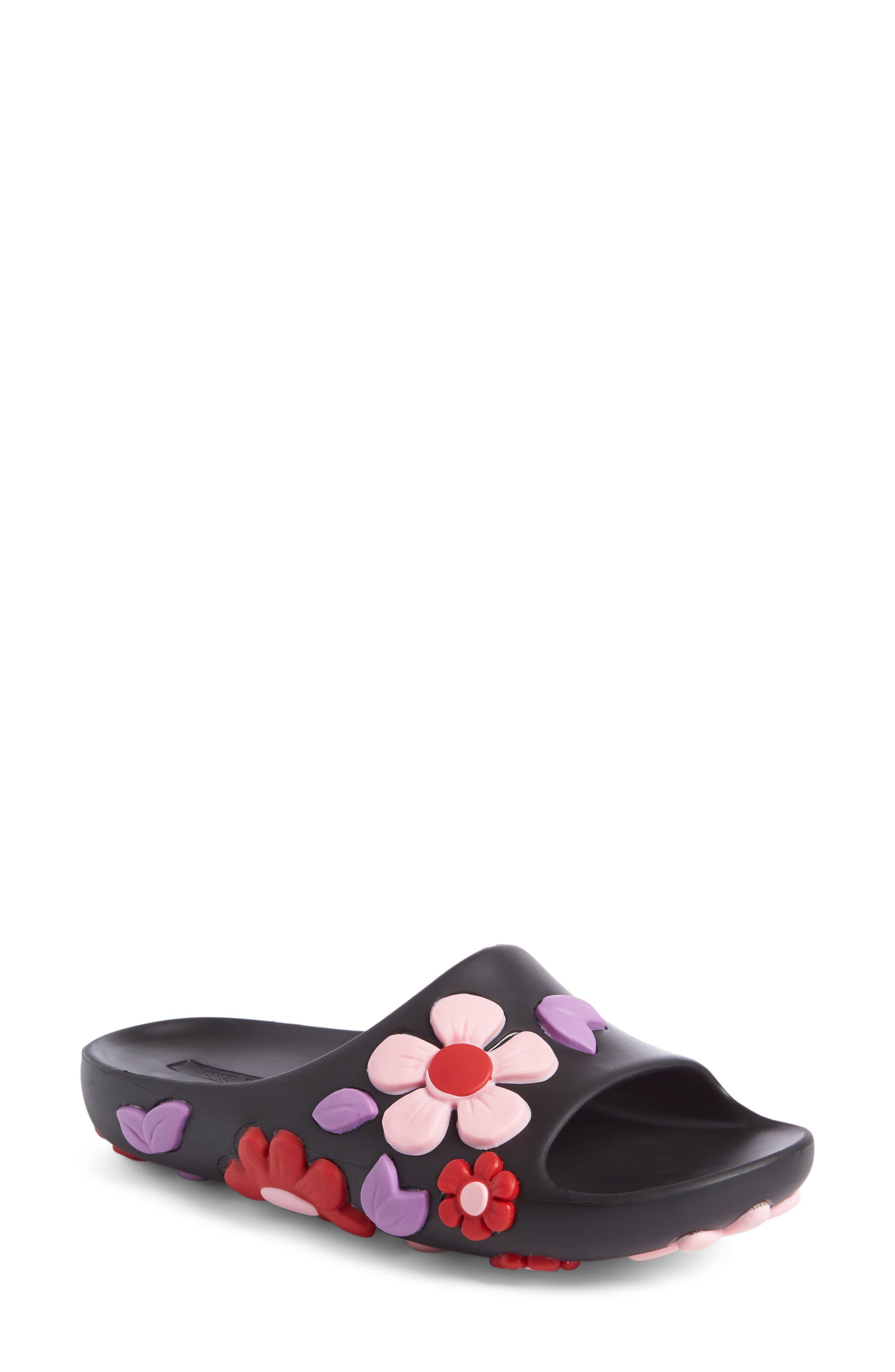 Floral Slide Sandal,                             Main thumbnail 1, color,                             001