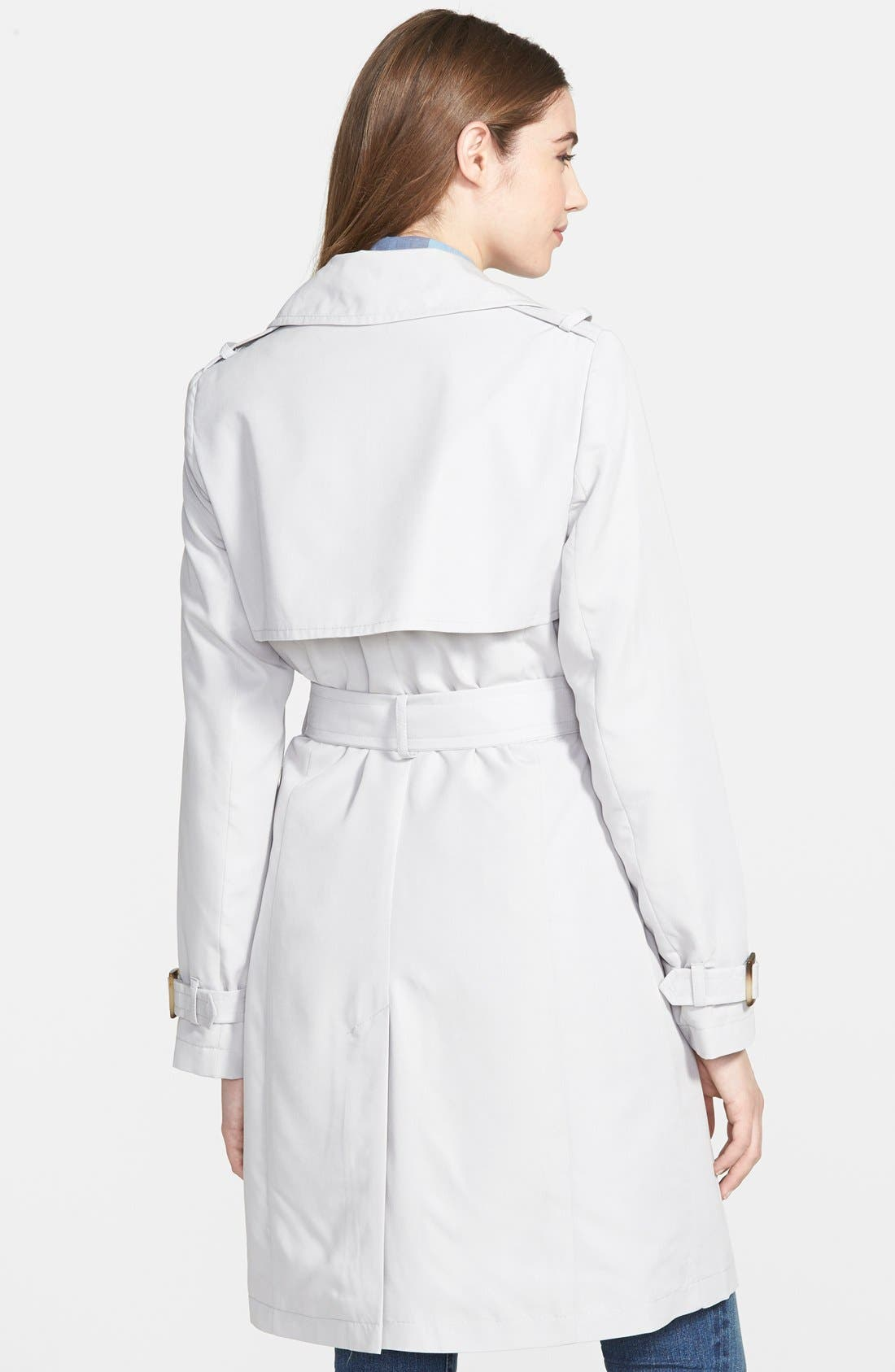 'Darcy' Drape Double Breasted Trench Coat,                             Alternate thumbnail 3, color,                             020