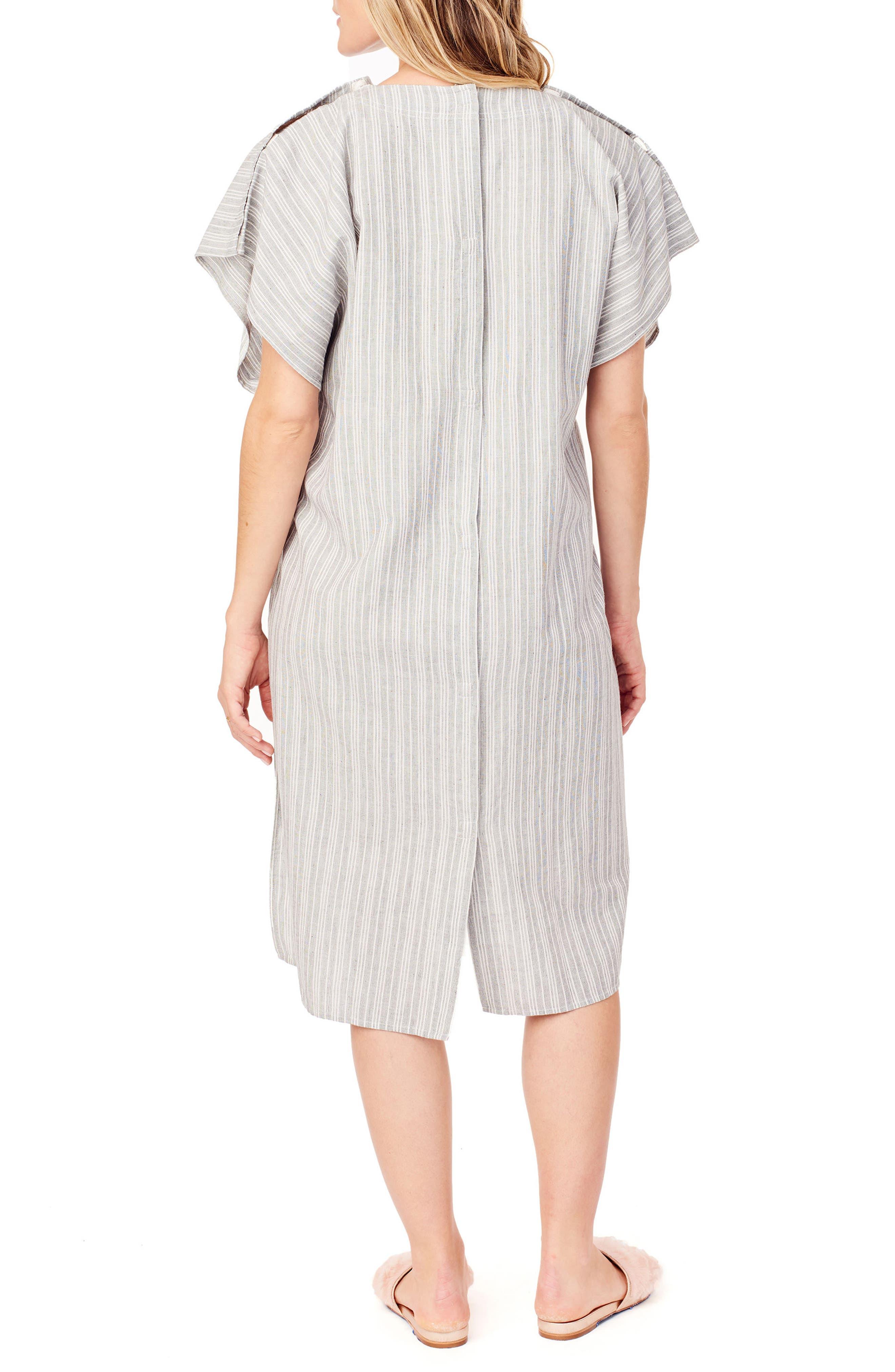x James Fox & Co. Maternity/Nursing Hospital Gown,                             Alternate thumbnail 2, color,                             BLACK/ WHITE DOBBY STRIPE