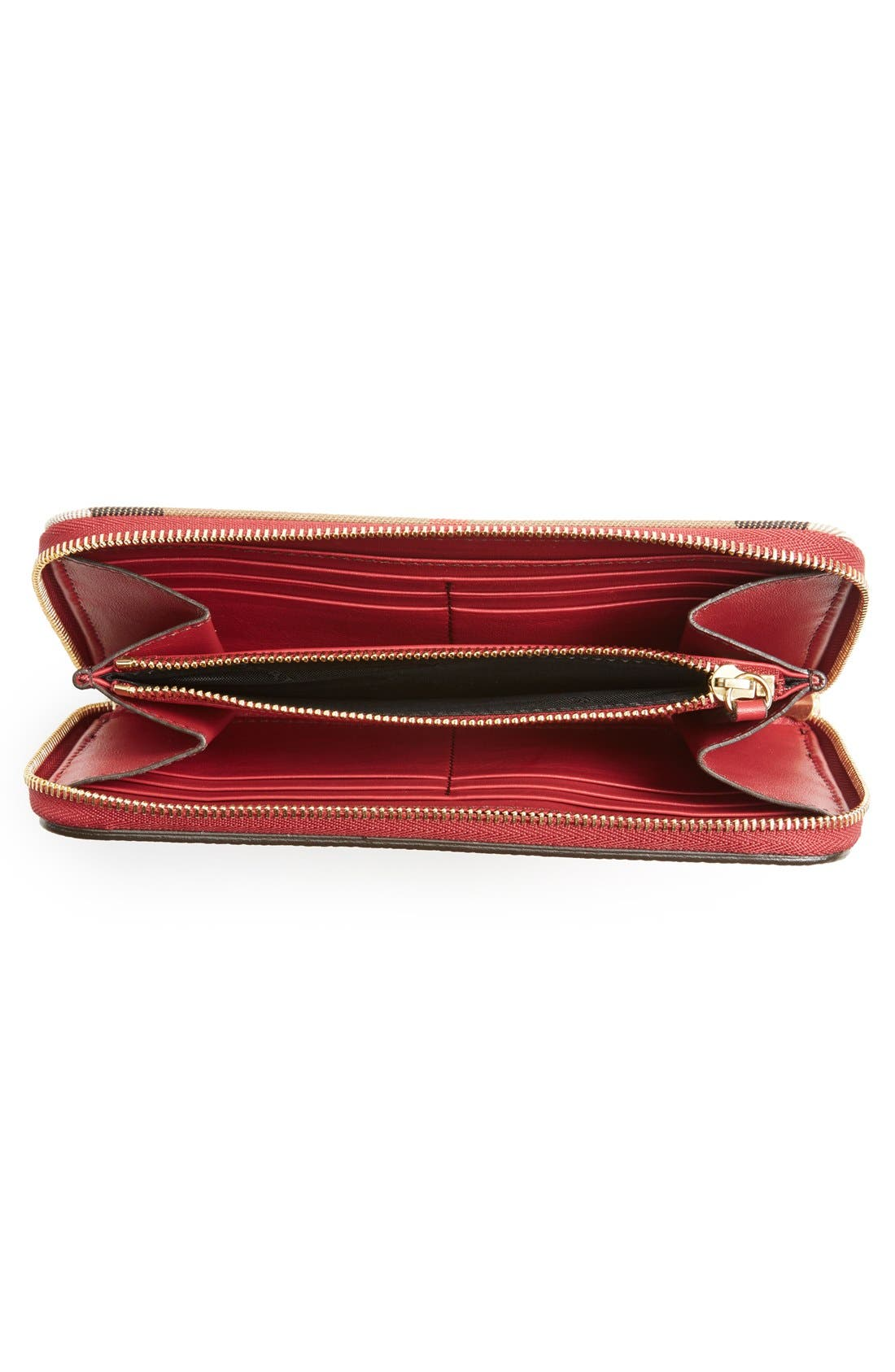'Elmore' House Check & Leather Zip Around Wallet,                             Alternate thumbnail 6, color,                             600