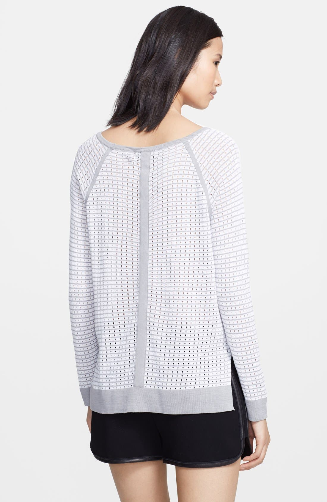 'Arianna' Raglan Pointelle Sweater,                             Alternate thumbnail 3, color,                             100