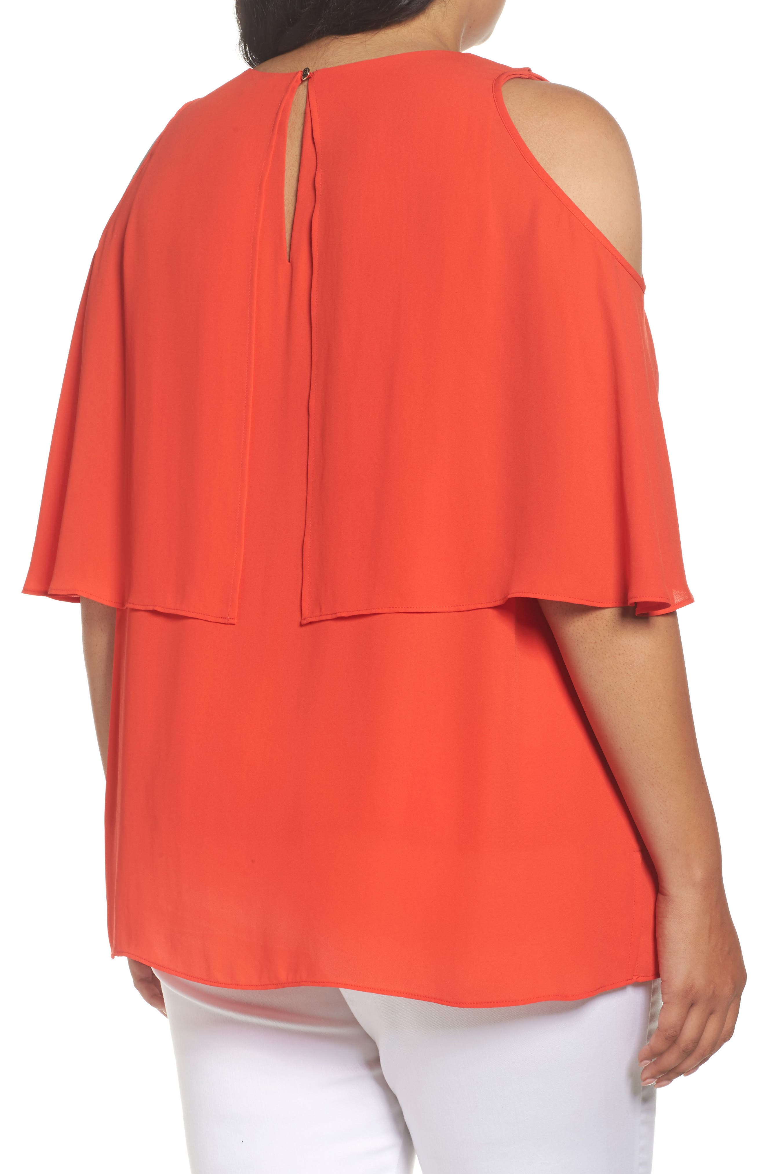 Cold Shoulder Ruffled Blouse,                             Alternate thumbnail 9, color,