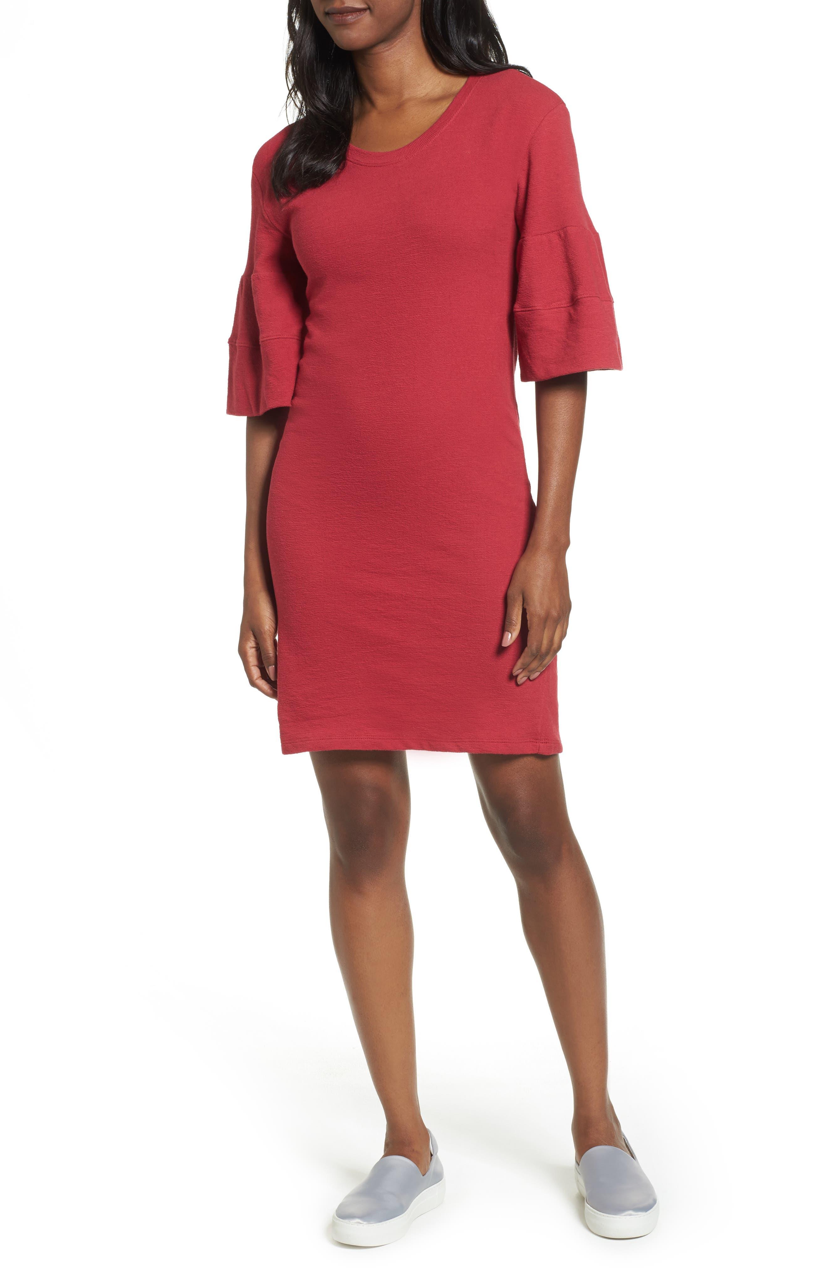 Ruffle Sleeve Knit Dress,                             Main thumbnail 3, color,