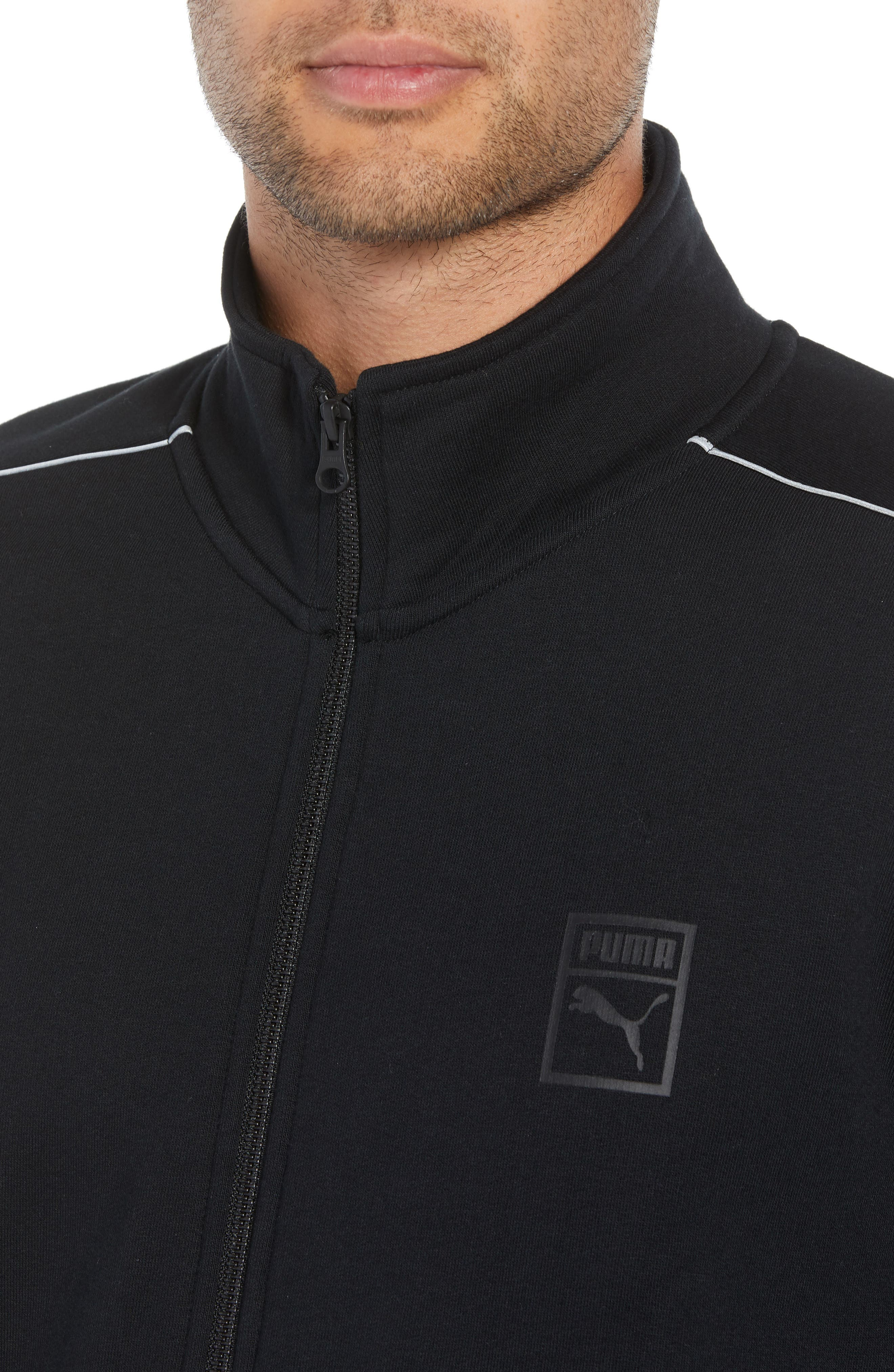 Chains T7 Track Jacket,                             Alternate thumbnail 4, color,                             PUMA BLACK/ GOLD