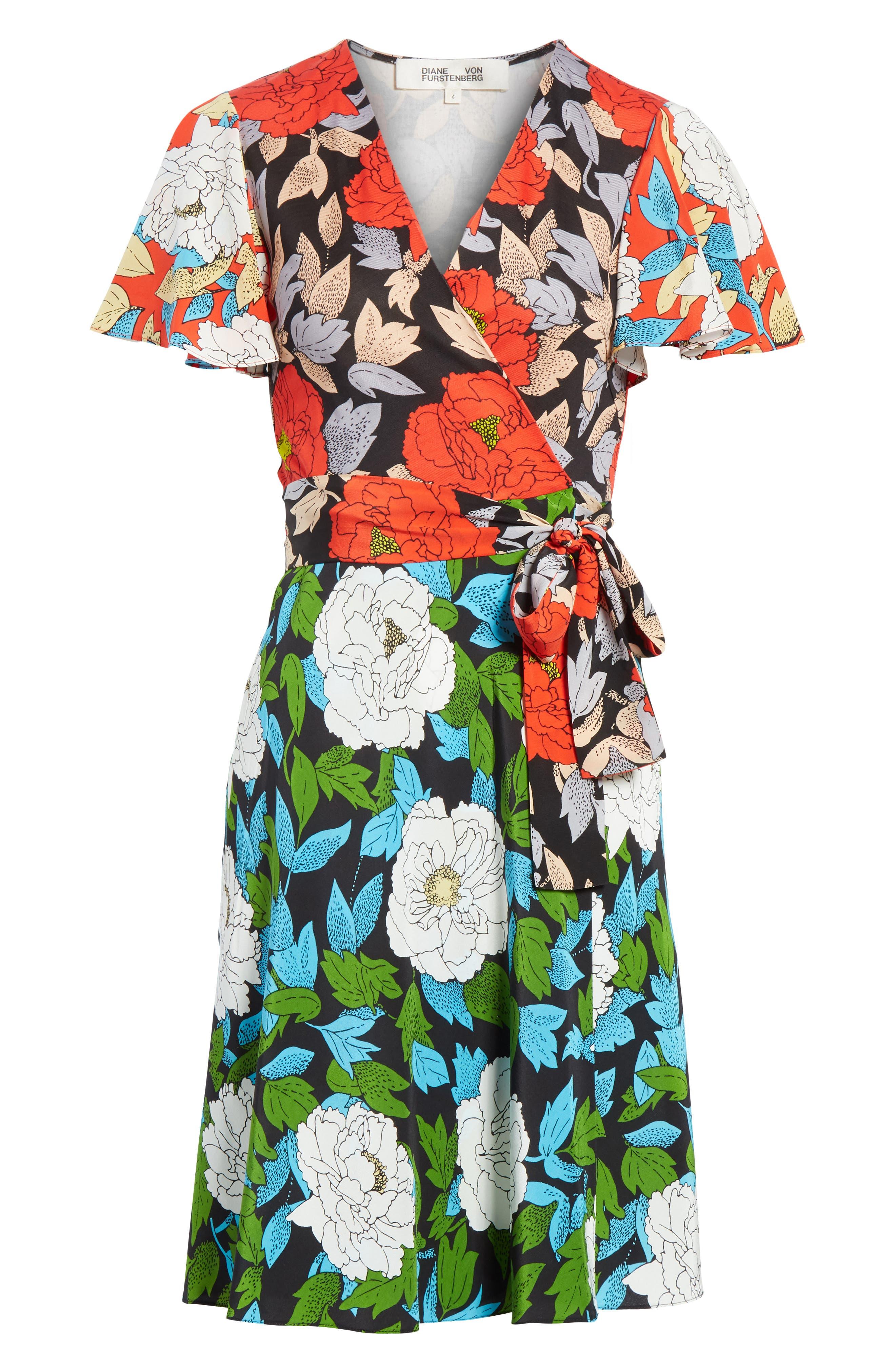 Diane von Furstenberg Flutter Sleeve Silk Wrap Dress,                             Alternate thumbnail 22, color,