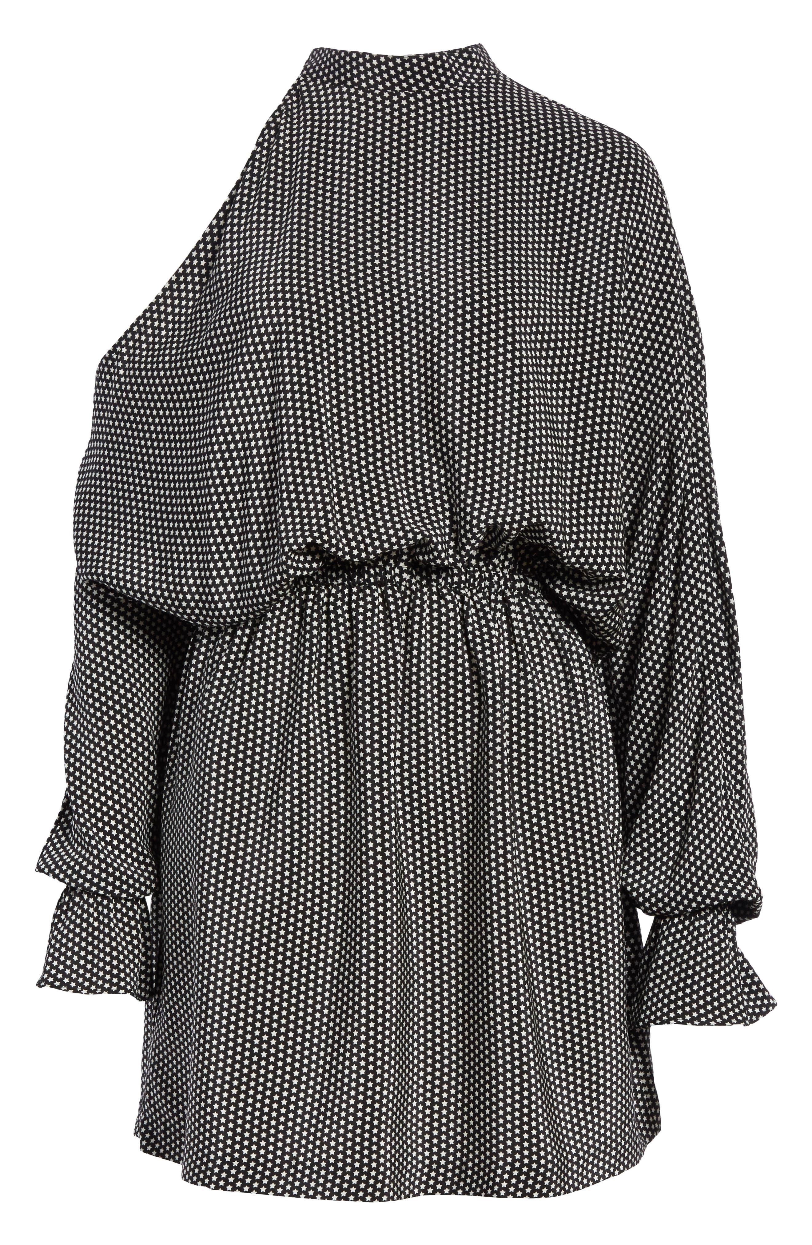 Star Print Cold Shoulder Silk Dress,                             Alternate thumbnail 6, color,                             001