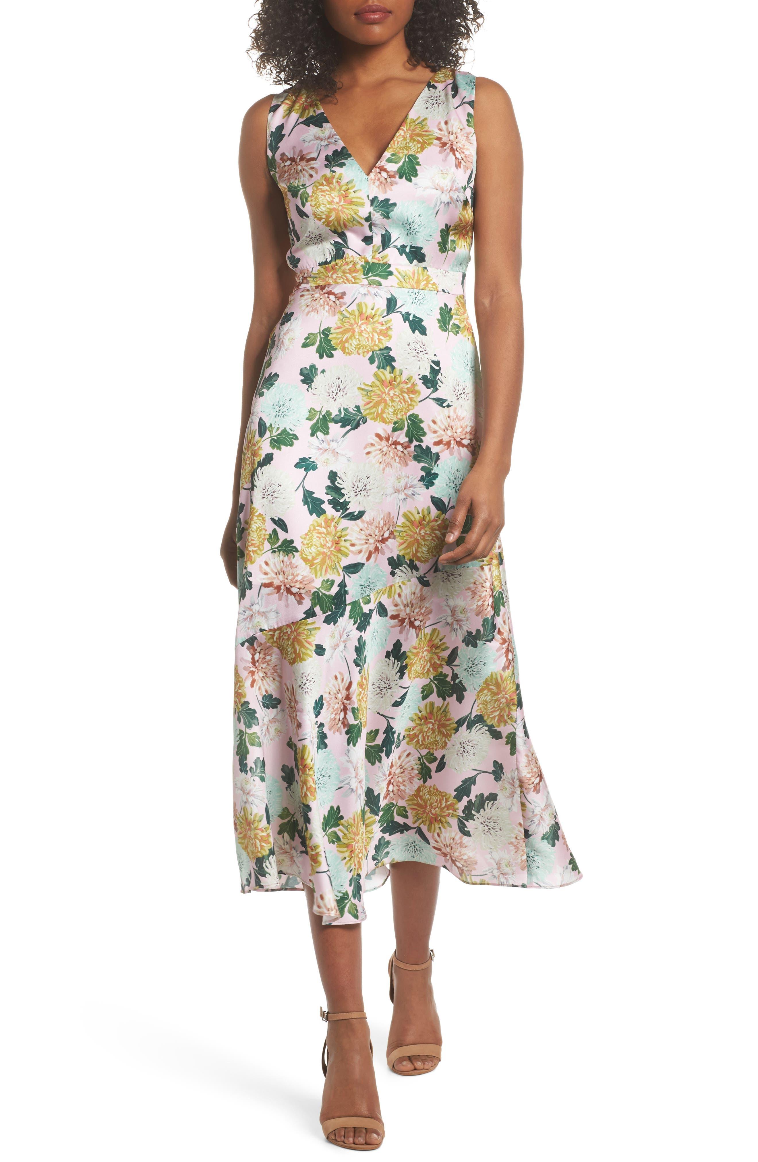 Vintage Floral Midi Dress,                             Main thumbnail 1, color,                             PINK MULTI