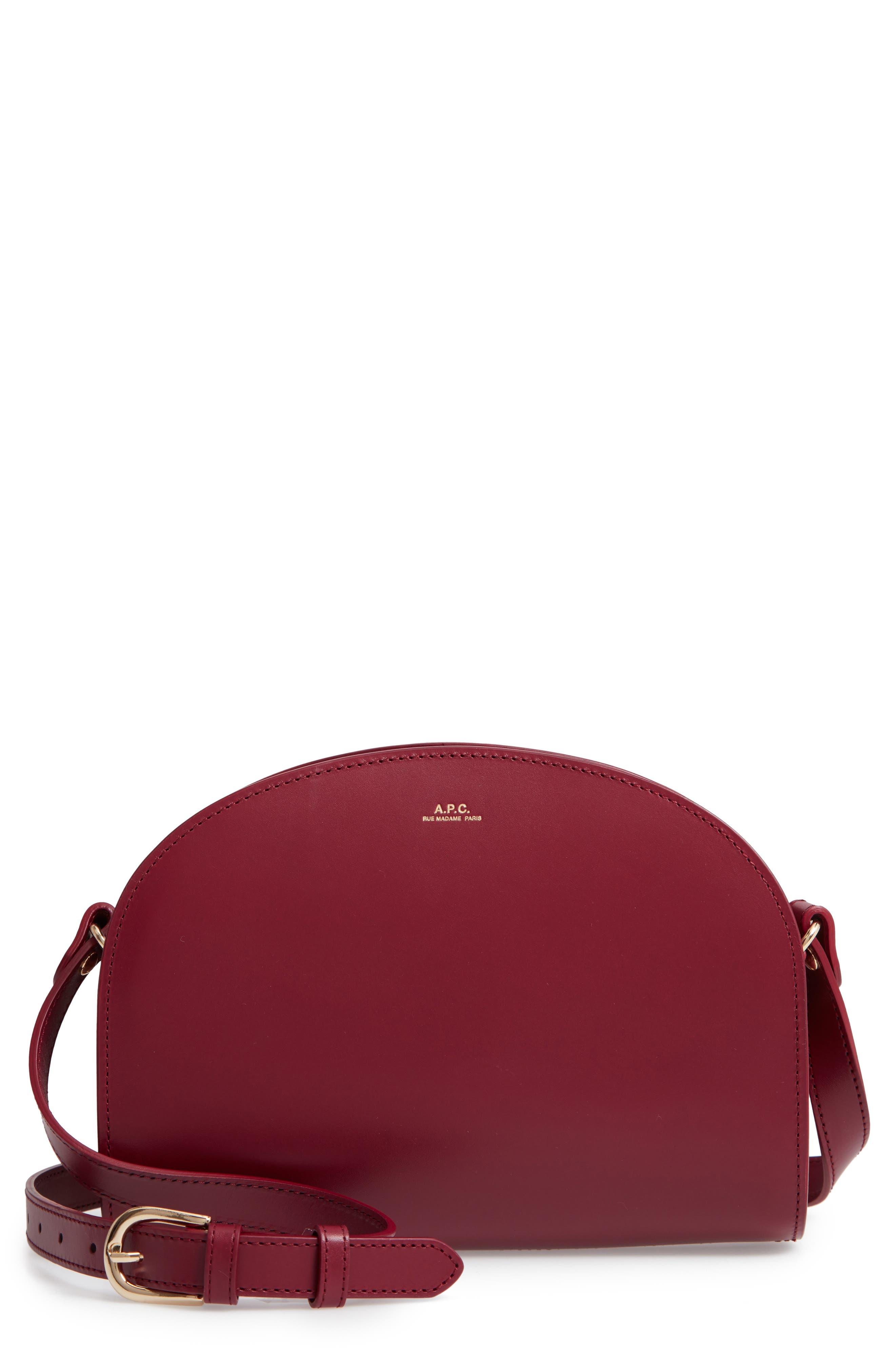 Sac Demi Lune Leather Crossbody Bag,                         Main,                         color, FRAMBOISE