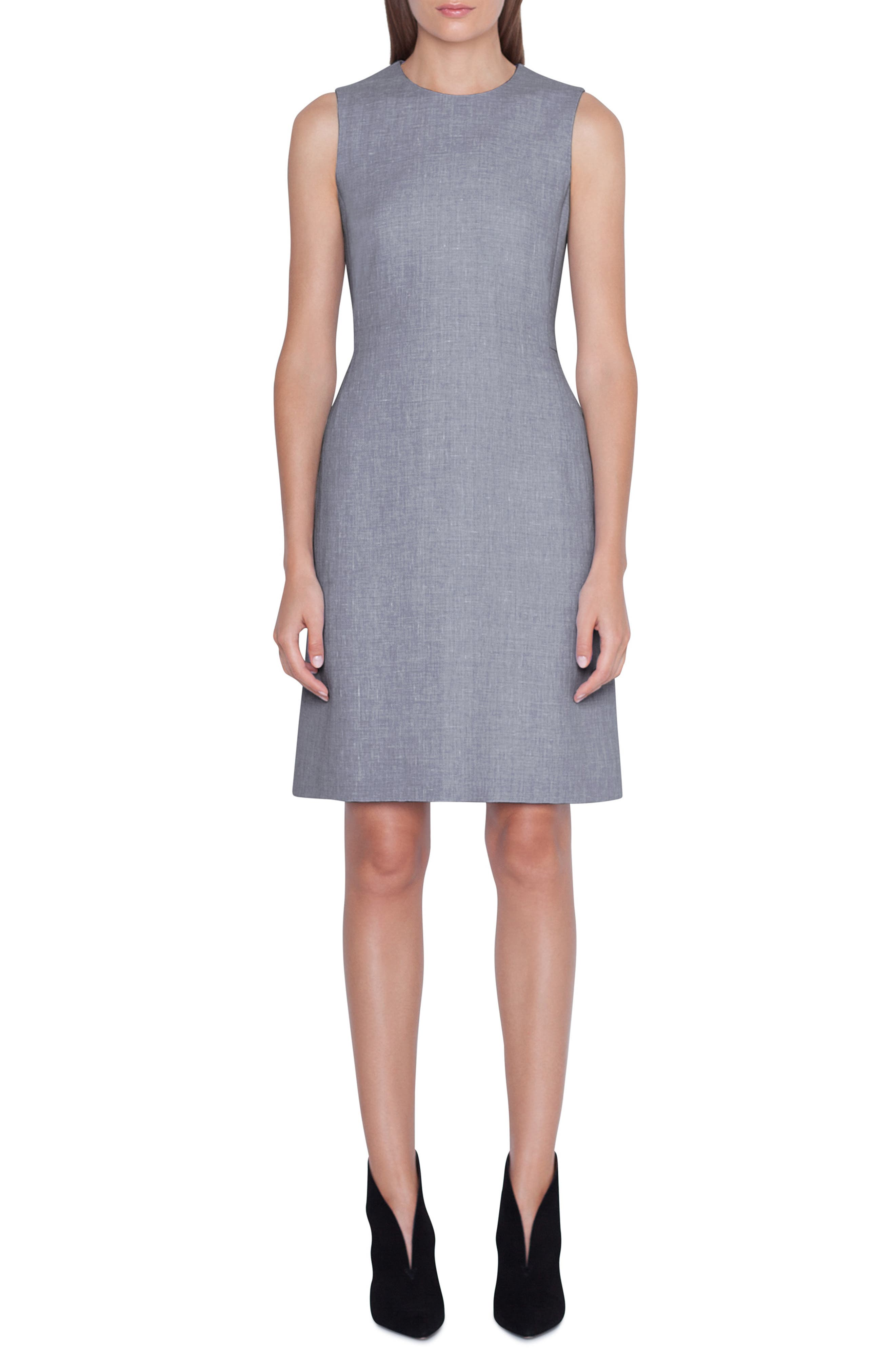 AKRIS,                             Linen & Wool Seamed Sheath Dress,                             Main thumbnail 1, color,                             TITAN