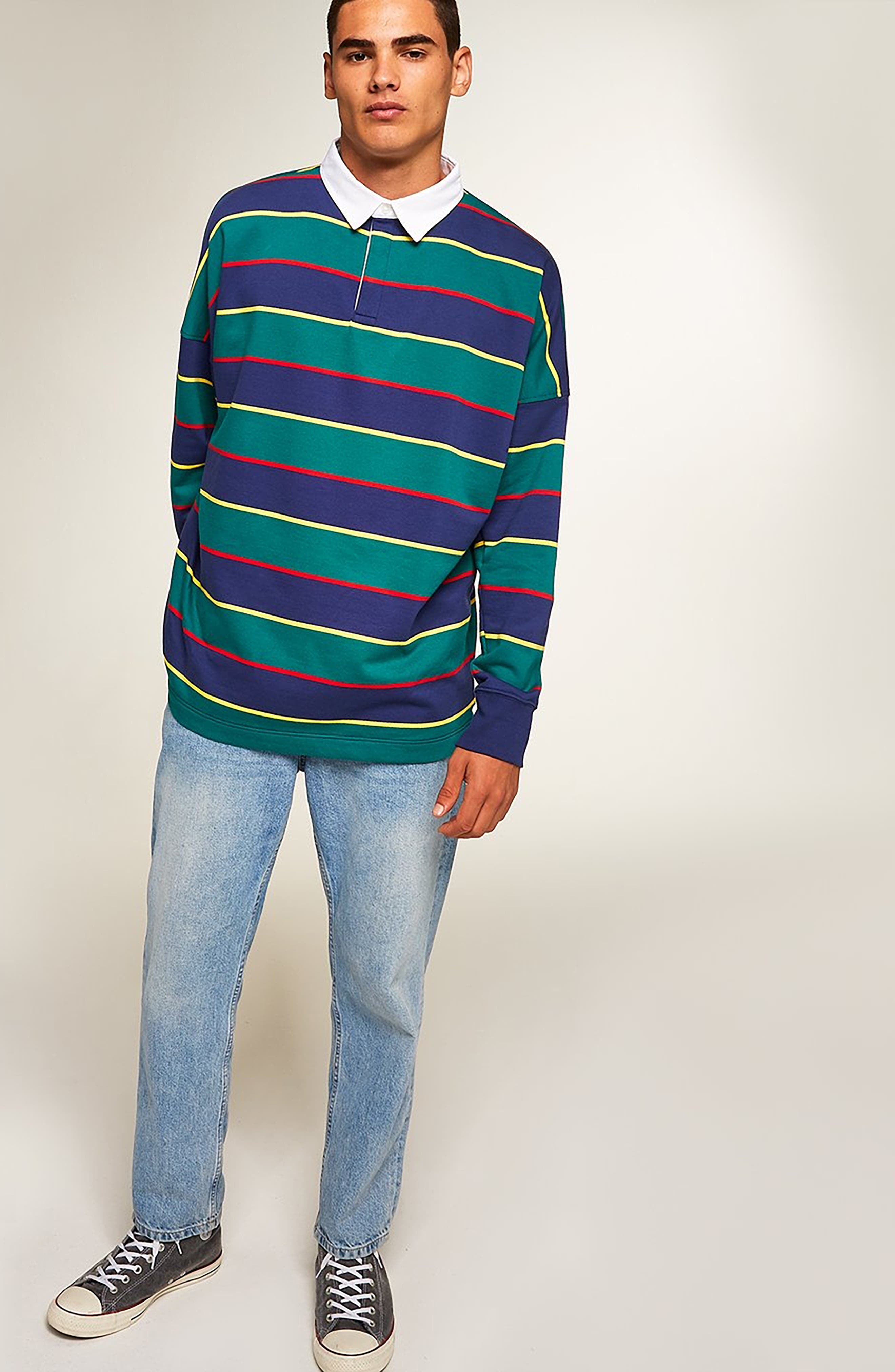 Rugby Stripe Shirt,                             Alternate thumbnail 5, color,                             GREEN MULTI