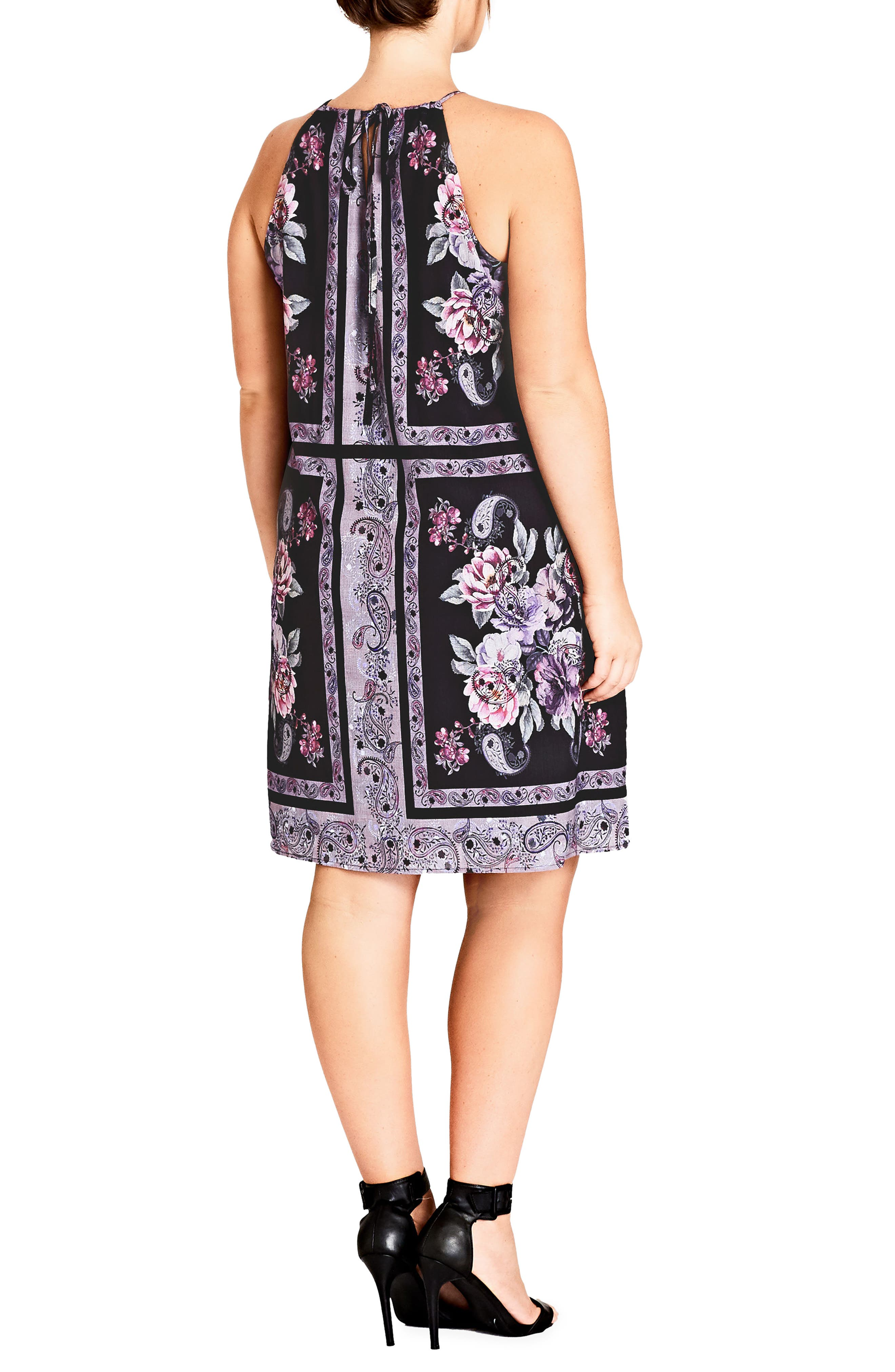Paisley Patch Sheath Dress,                             Alternate thumbnail 2, color,                             001