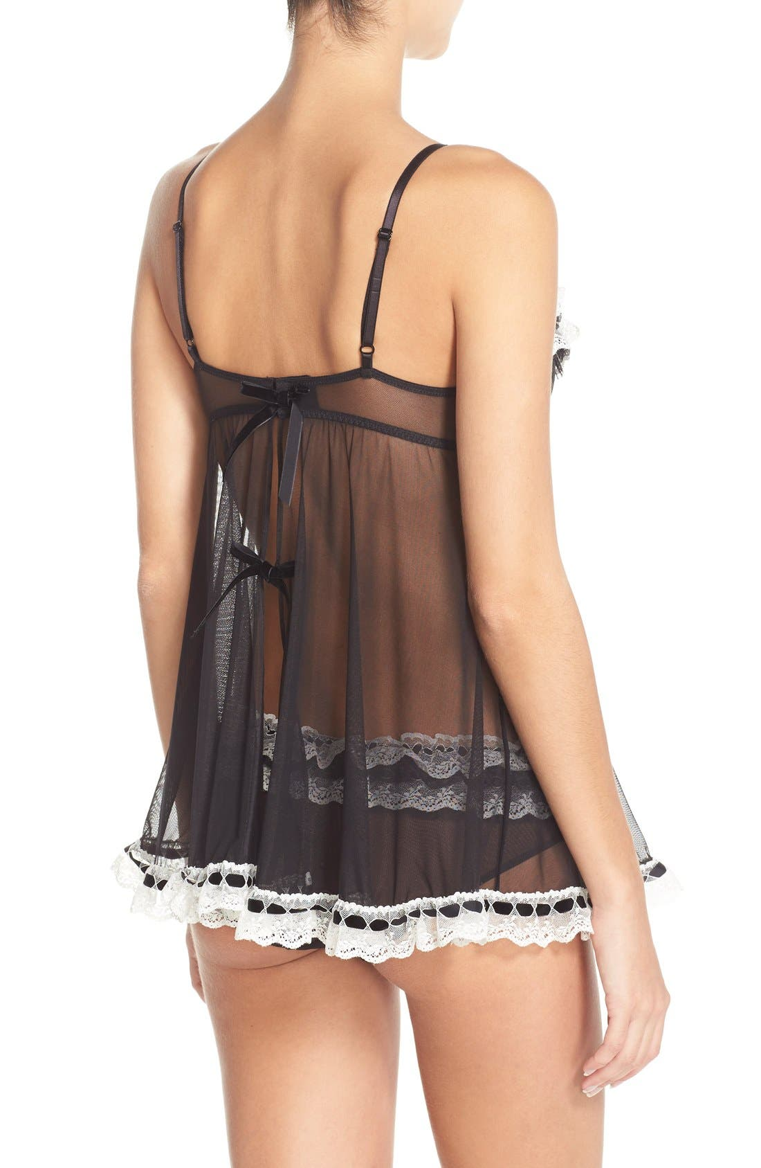 'Ruffles Galore' Underwire Chemise & Hipster Briefs,                             Alternate thumbnail 4, color,                             002
