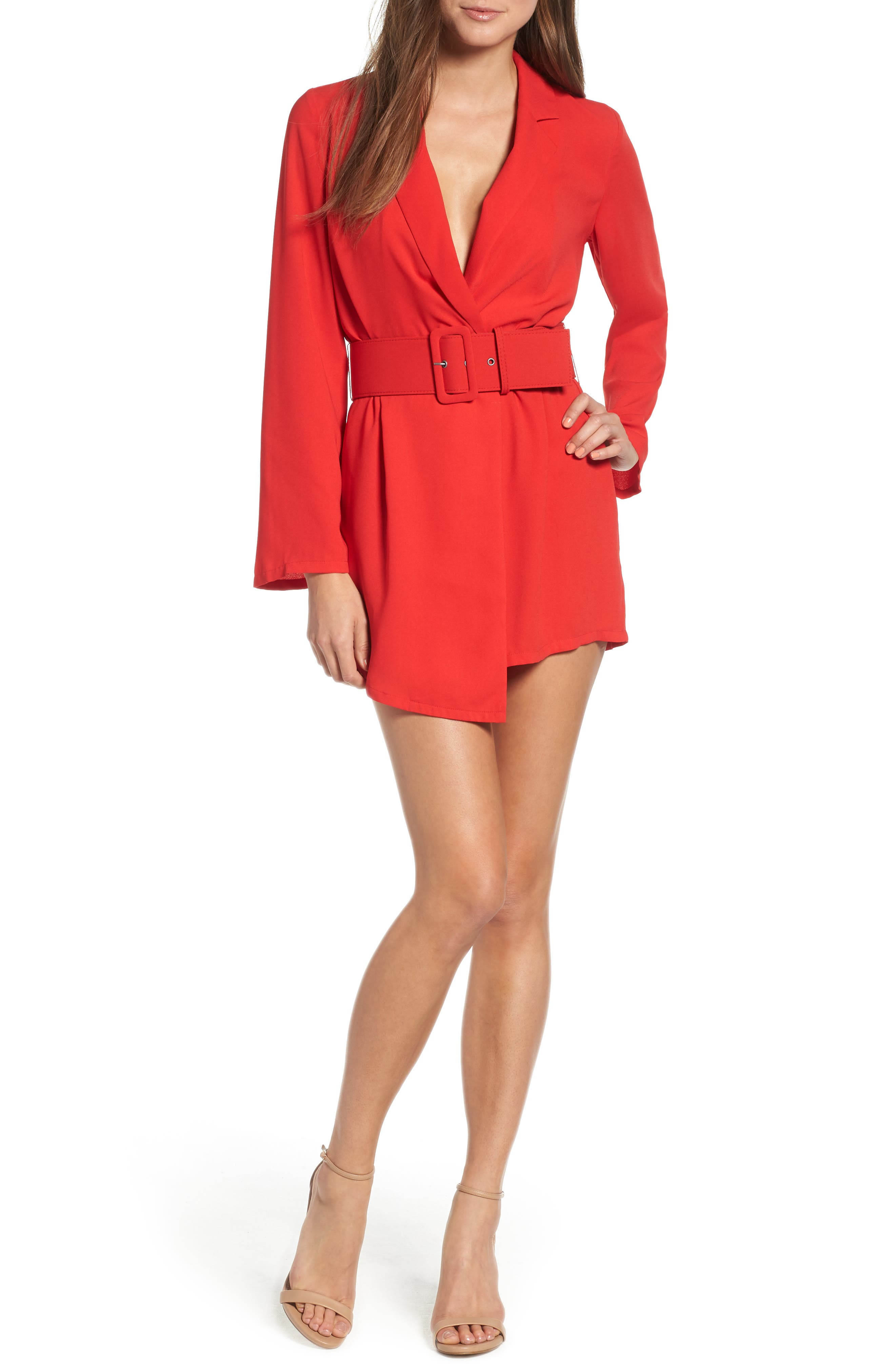 Belted Romper,                         Main,                         color, RED CHINOISE