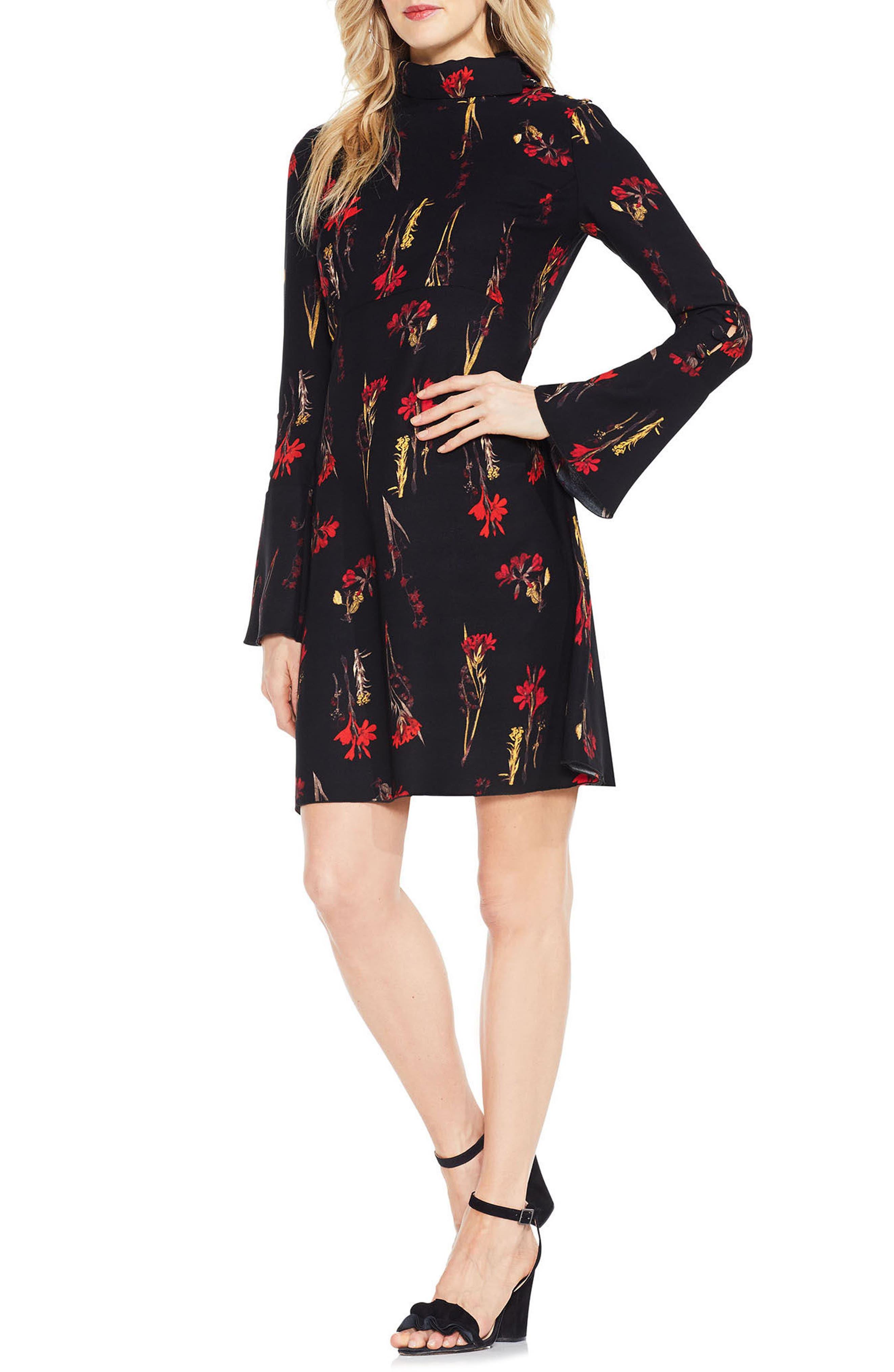 Botanical Flared Sleeve Dress,                             Main thumbnail 1, color,                             006