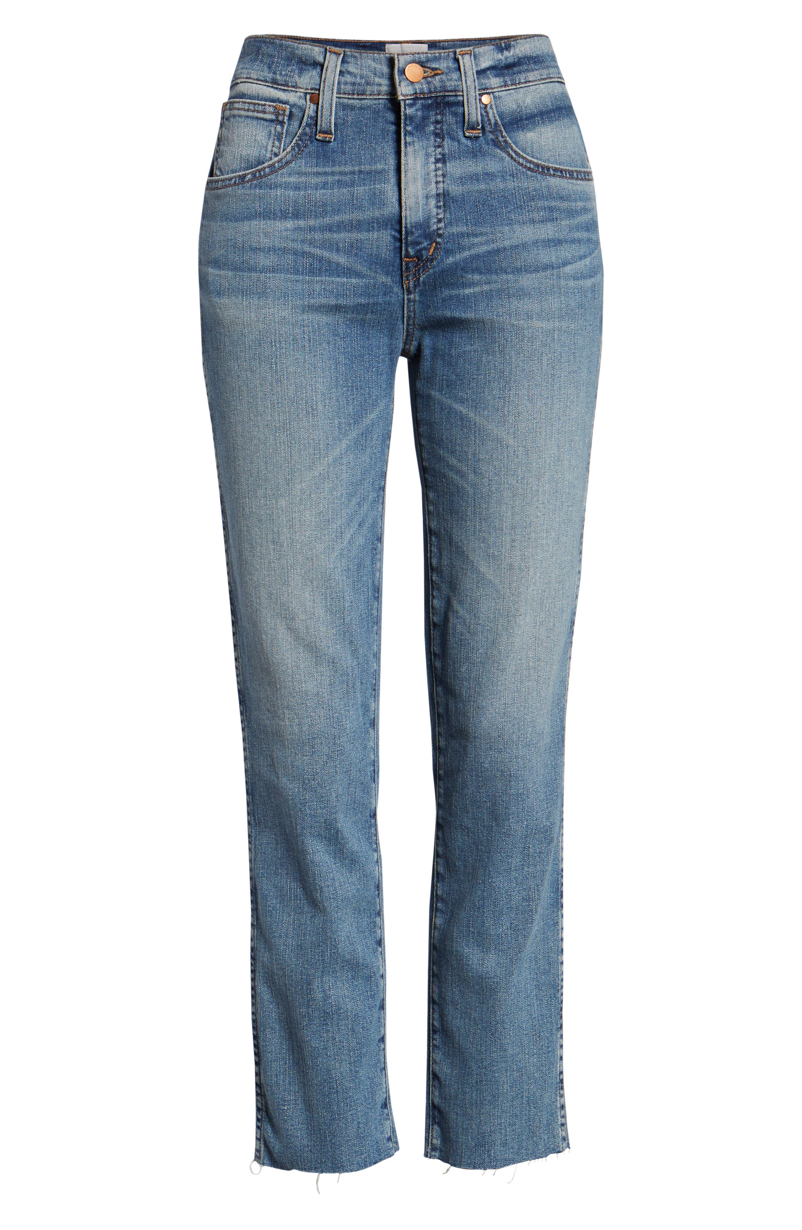Raw Hem Slim Straight Leg Jeans,                             Alternate thumbnail 7, color,                             420
