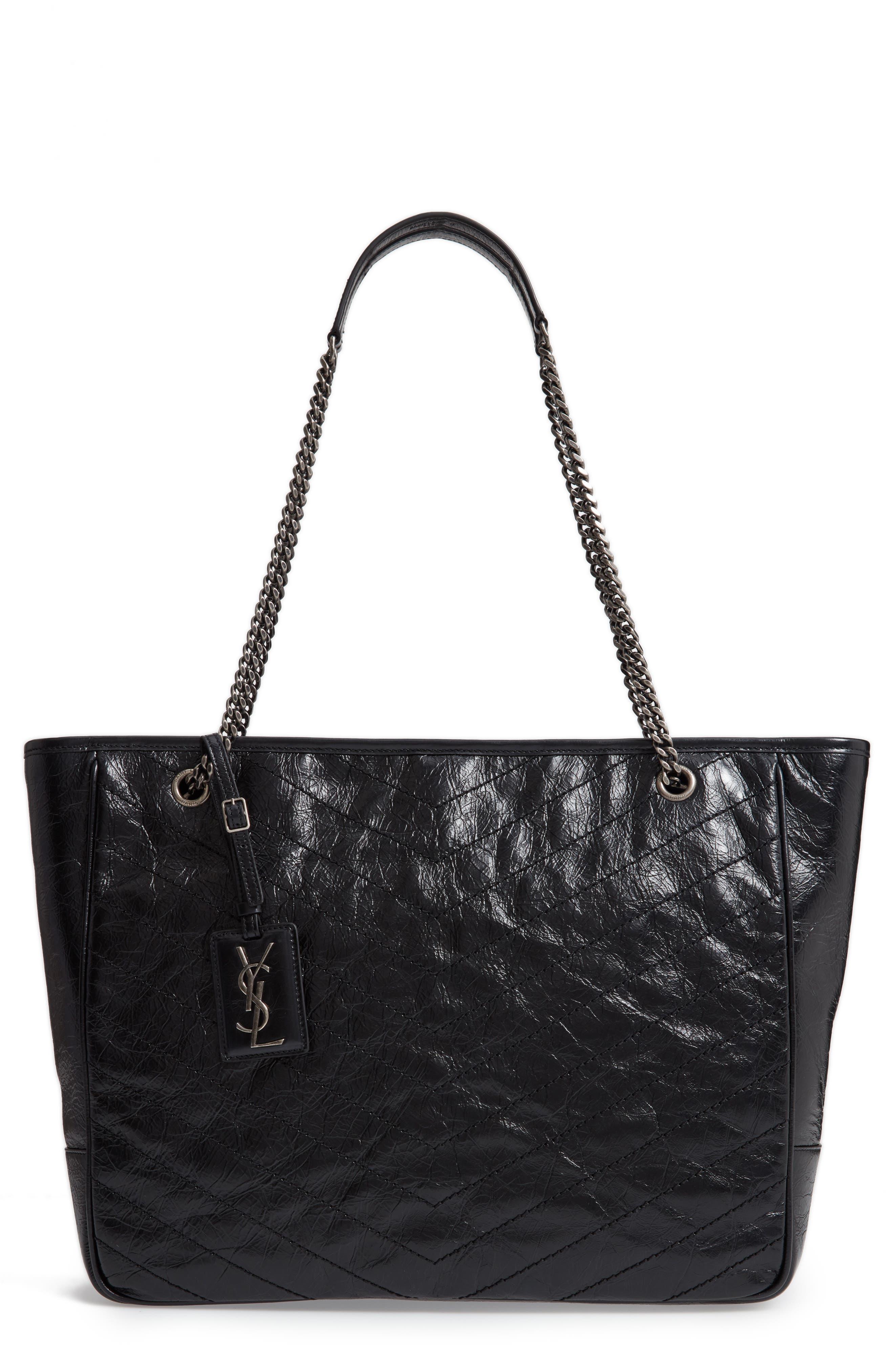 Large Niki Calfskin Leather Shopper,                             Main thumbnail 1, color,                             NOIR
