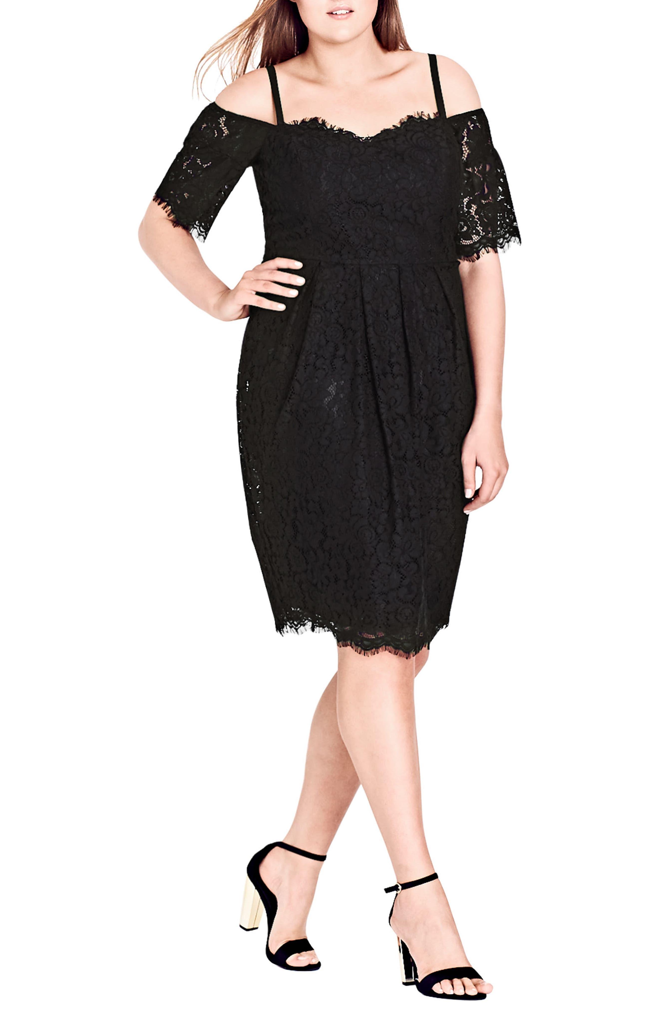 Plus Size City Chic Amour Cold Shoulder Lace Sheath Dress, Black