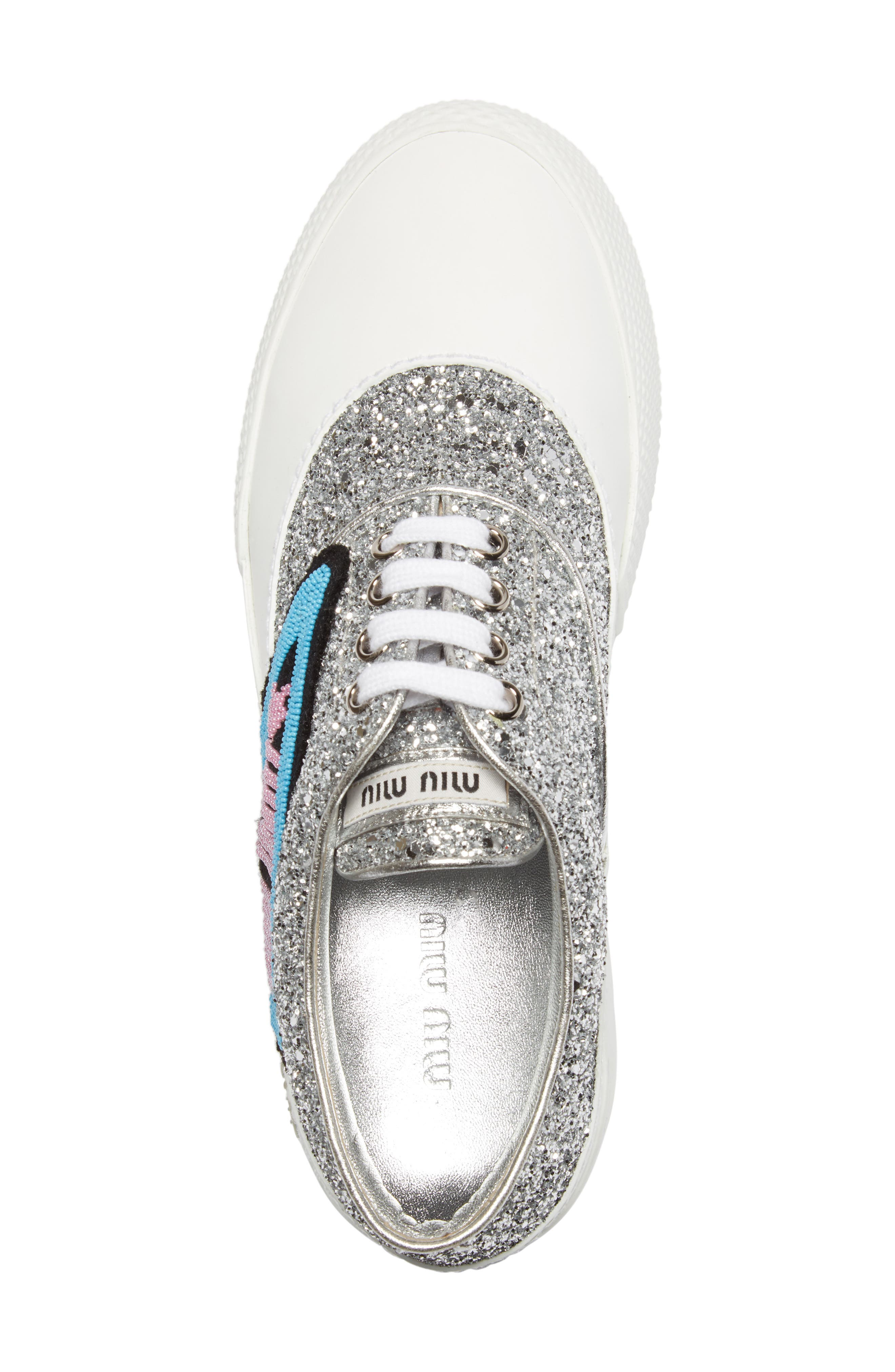 Beaded Glitter Lace-Up Sneaker,                             Alternate thumbnail 3, color,                             100