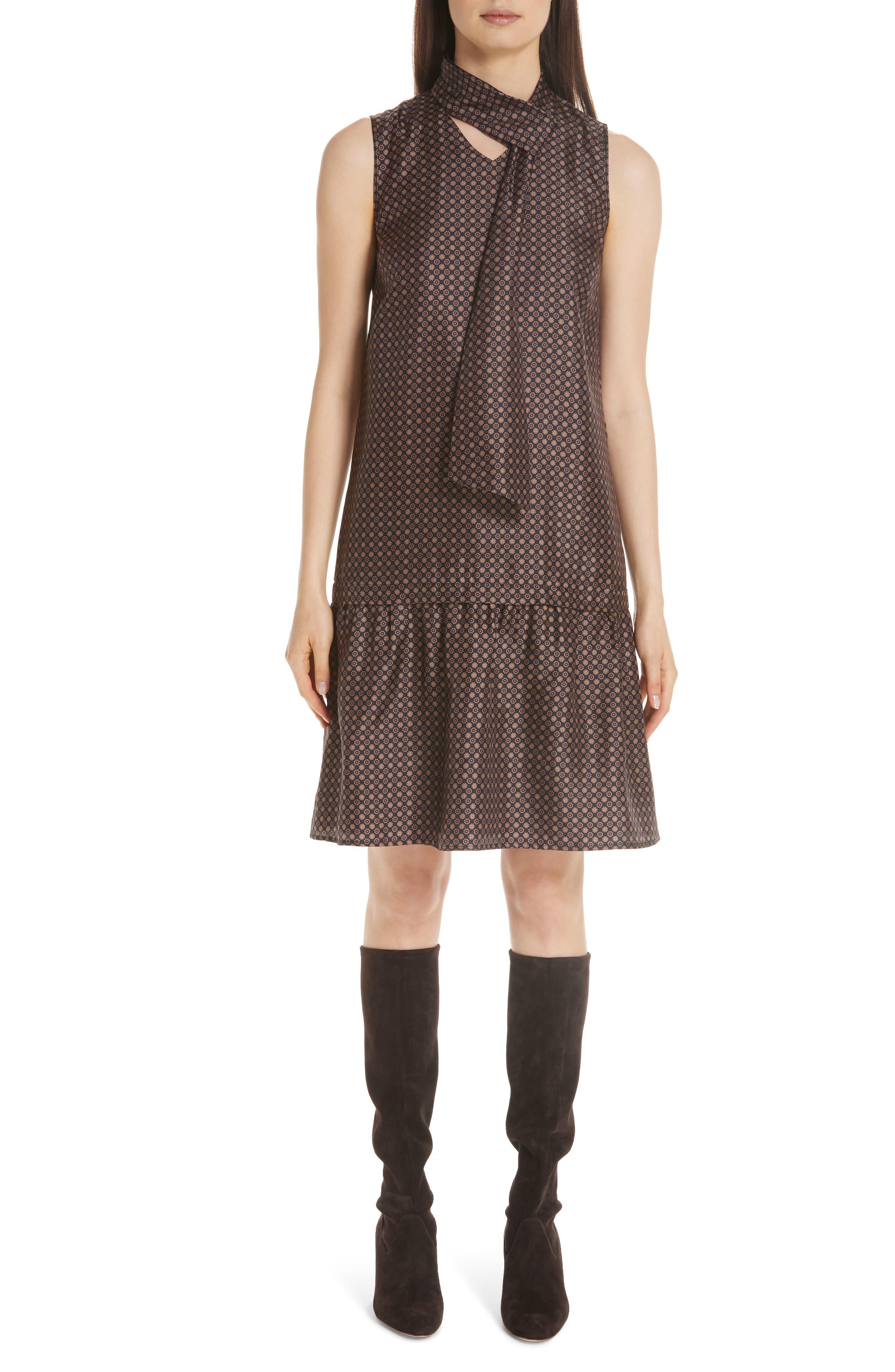 Abbie Silk Dress,                         Main,                         color, INK MULTI