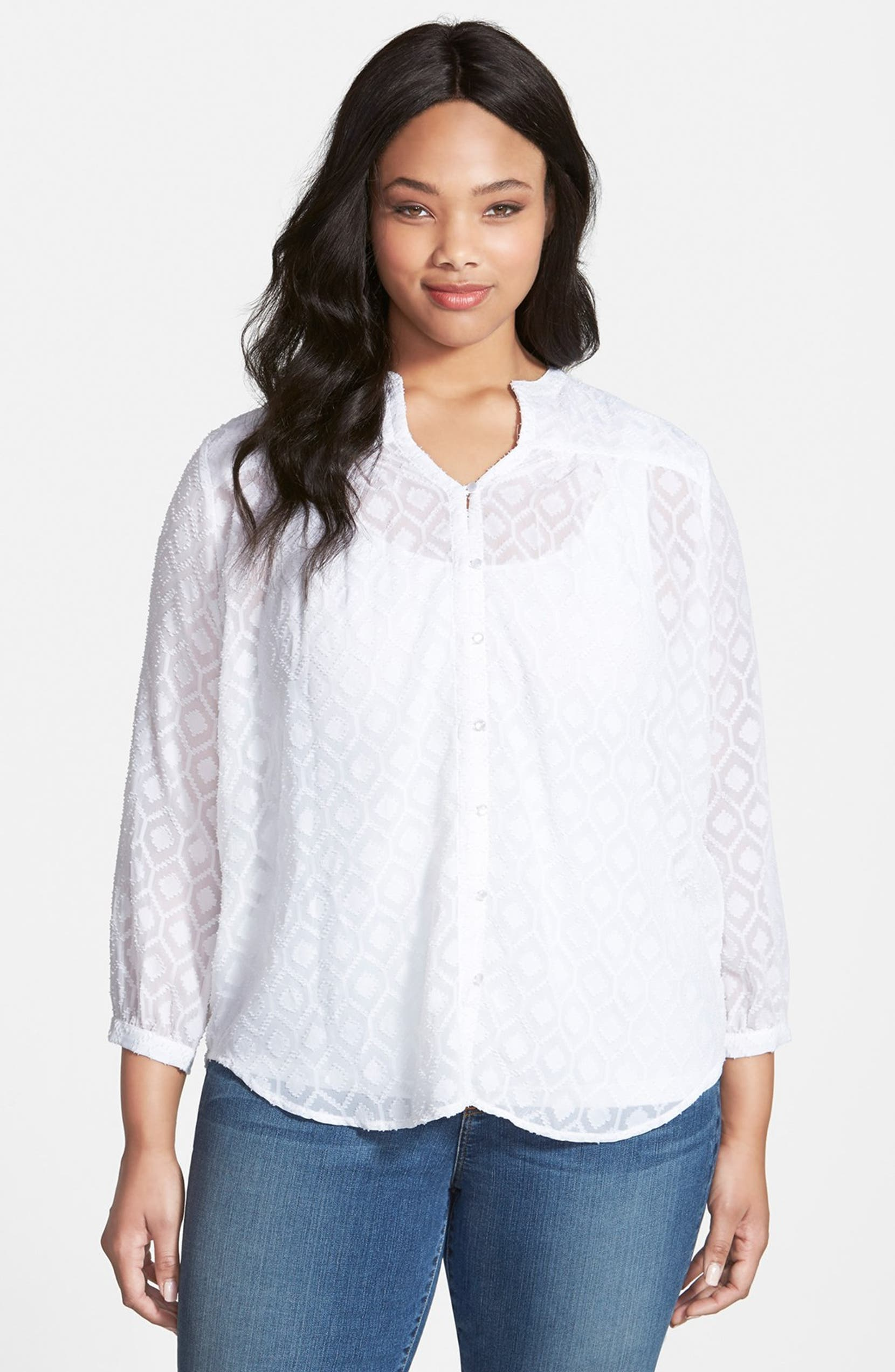 7057d4df31b Lucky Brand Jacquard Peasant Top (Plus Size)