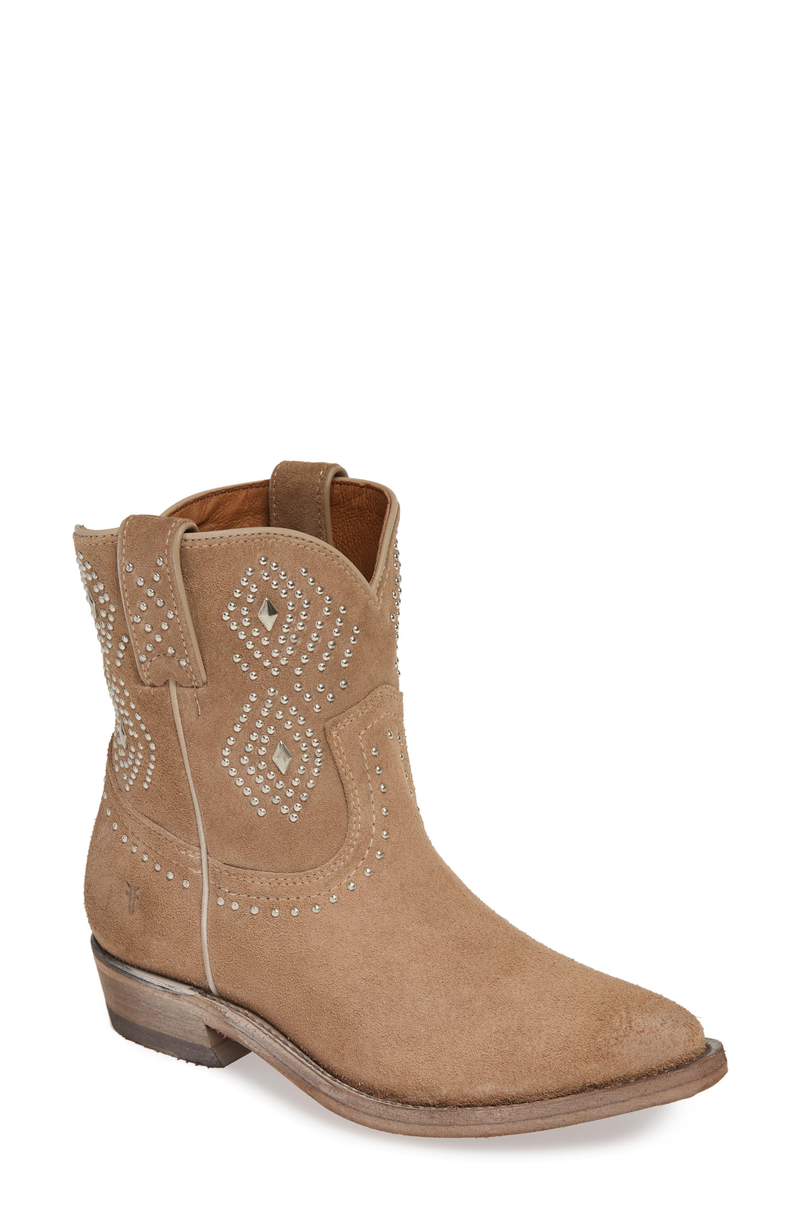 Frye Billy Stud Short Western Boot- Beige