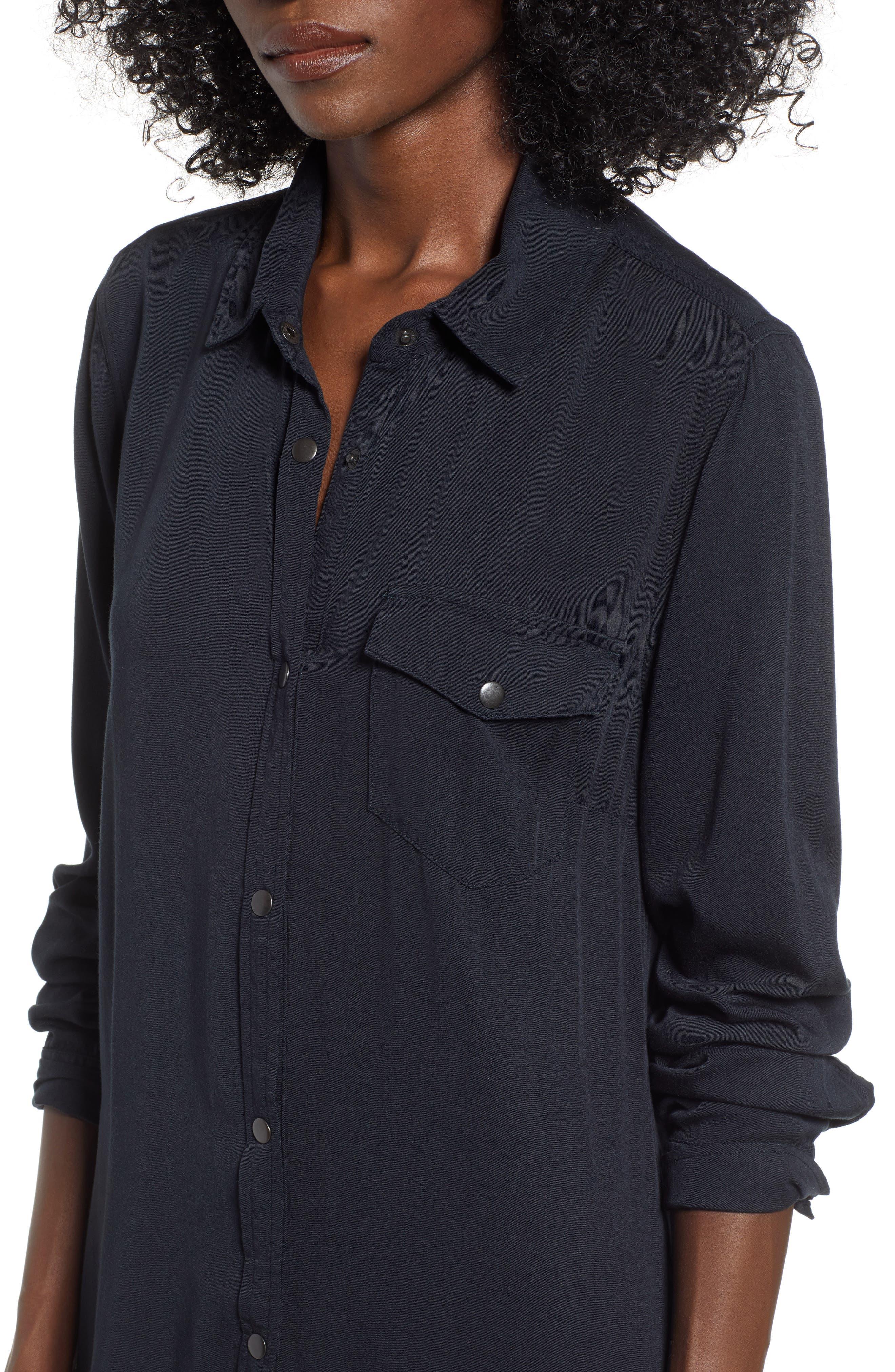 Tomini Bay View Shirtdress,                             Alternate thumbnail 4, color,                             TRUE BLACK