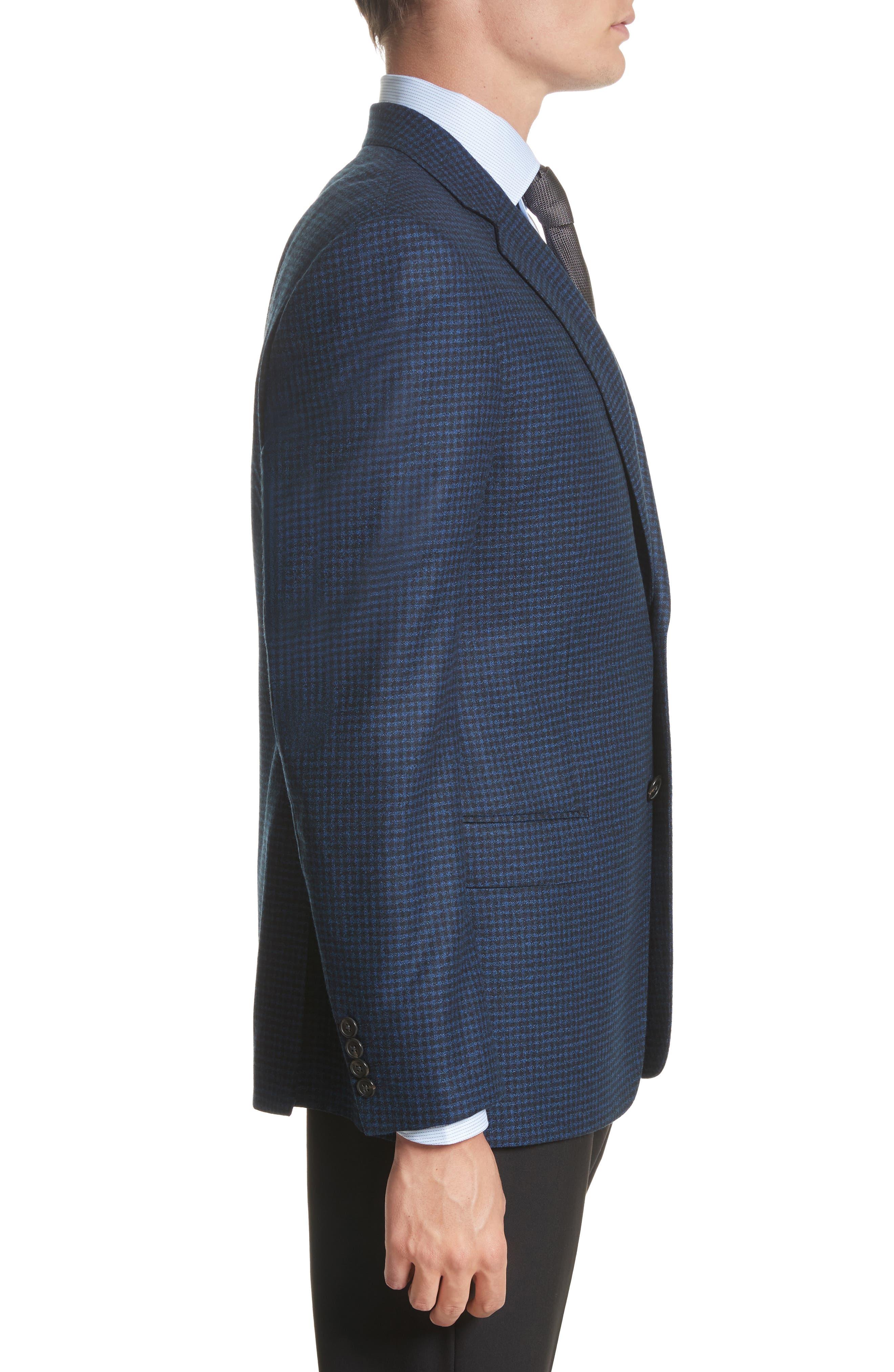 ARMANI COLLEZIONI,                             G-Line Trim Fit Check Wool Sport Coat,                             Alternate thumbnail 3, color,                             410