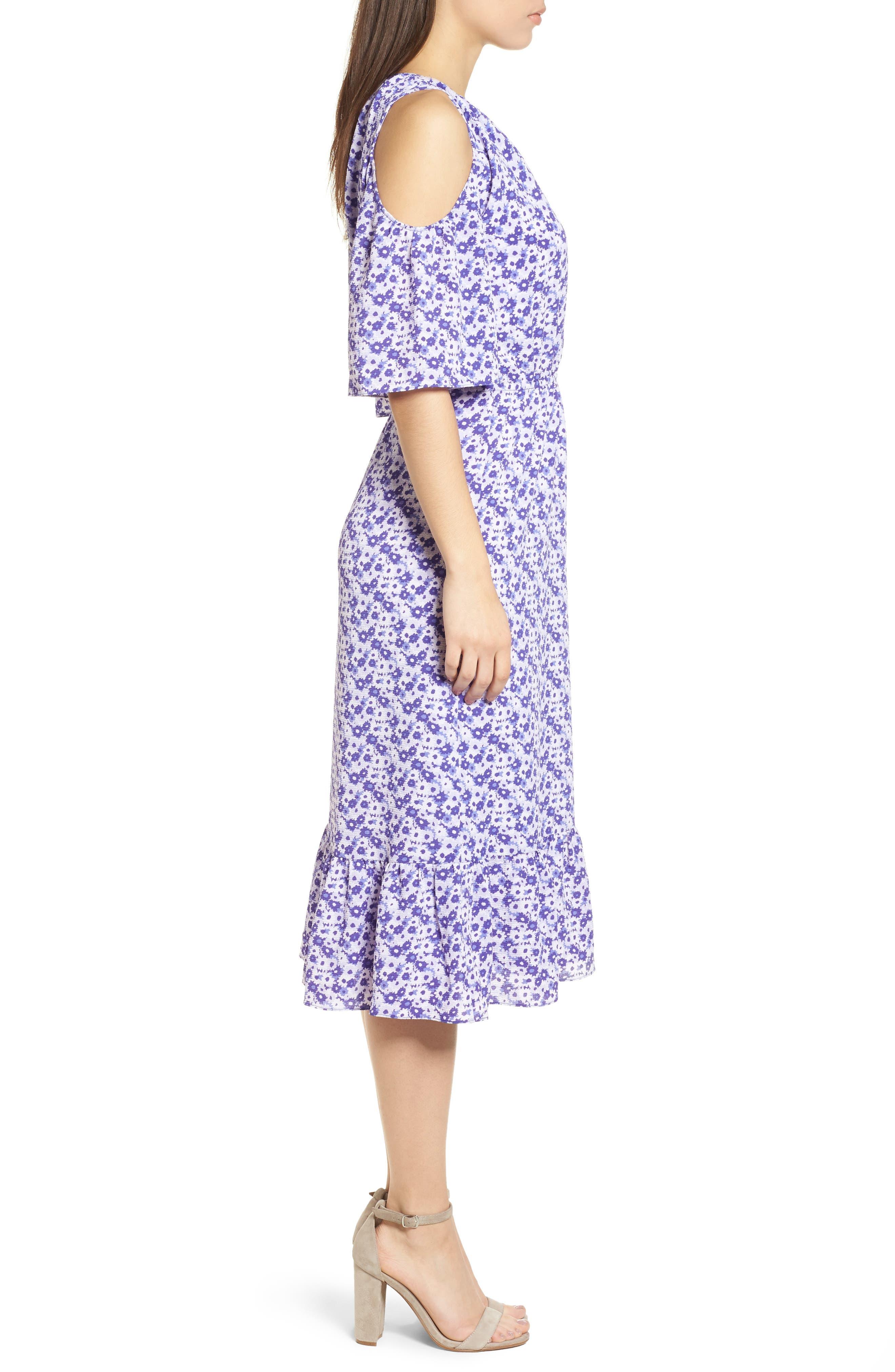 Ruffle Cold Shoulder Dress,                             Alternate thumbnail 3, color,                             580