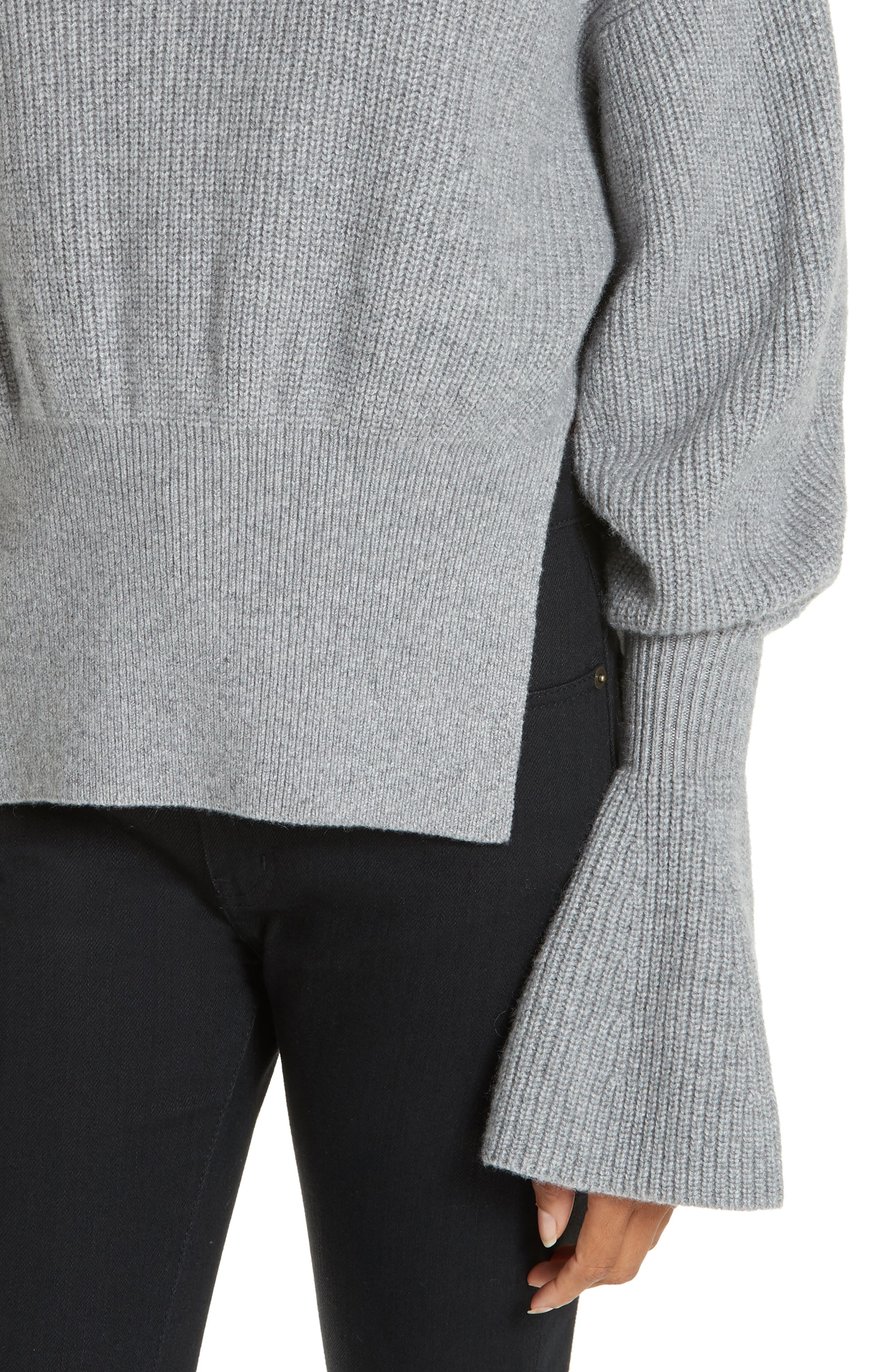 Side Split Merino Wool & Cashmere Blend Sweater,                             Alternate thumbnail 4, color,                             HEATHER GREY