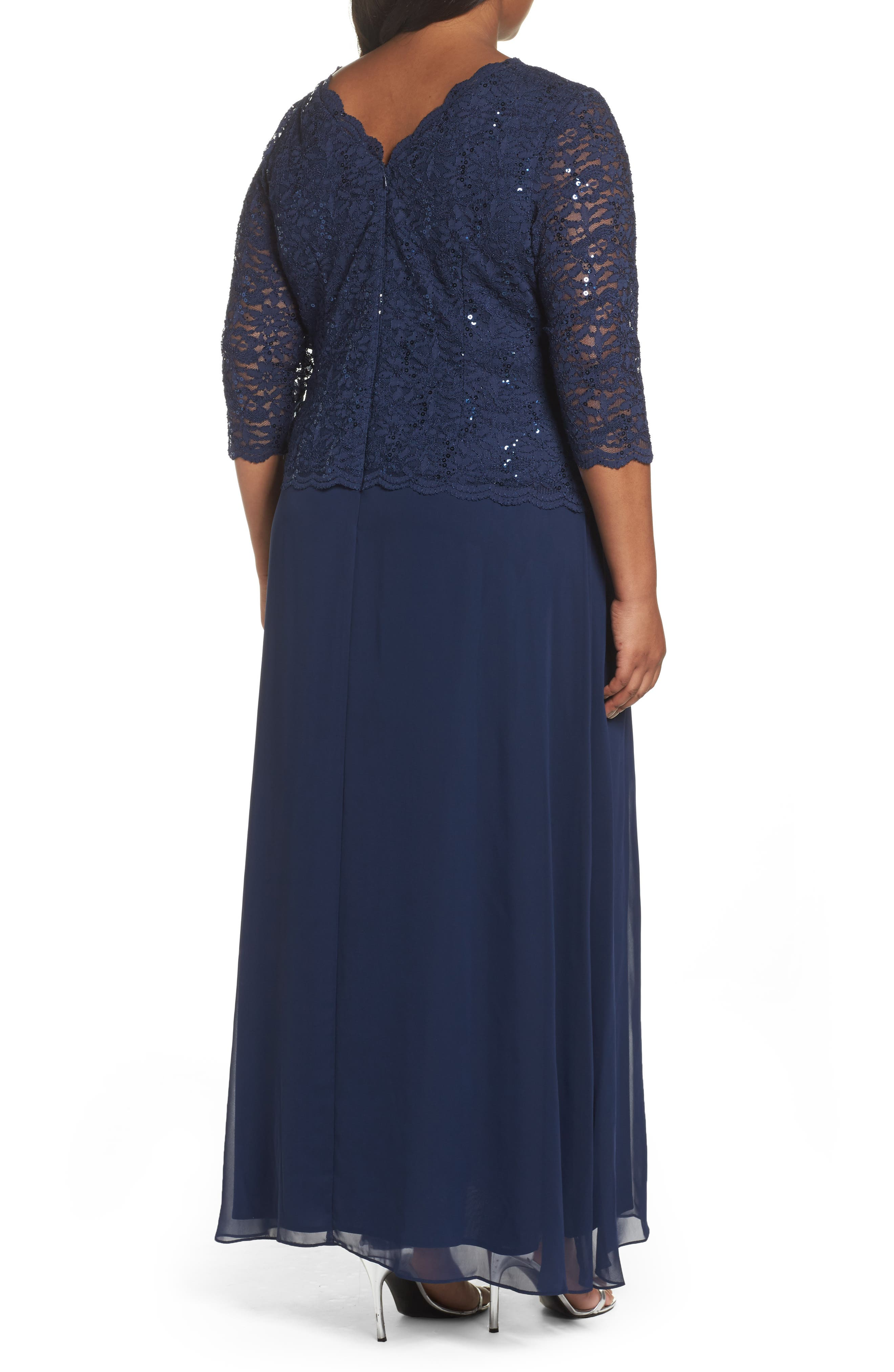 Embellished Lace & Chiffon Gown,                             Alternate thumbnail 2, color,                             NAVY
